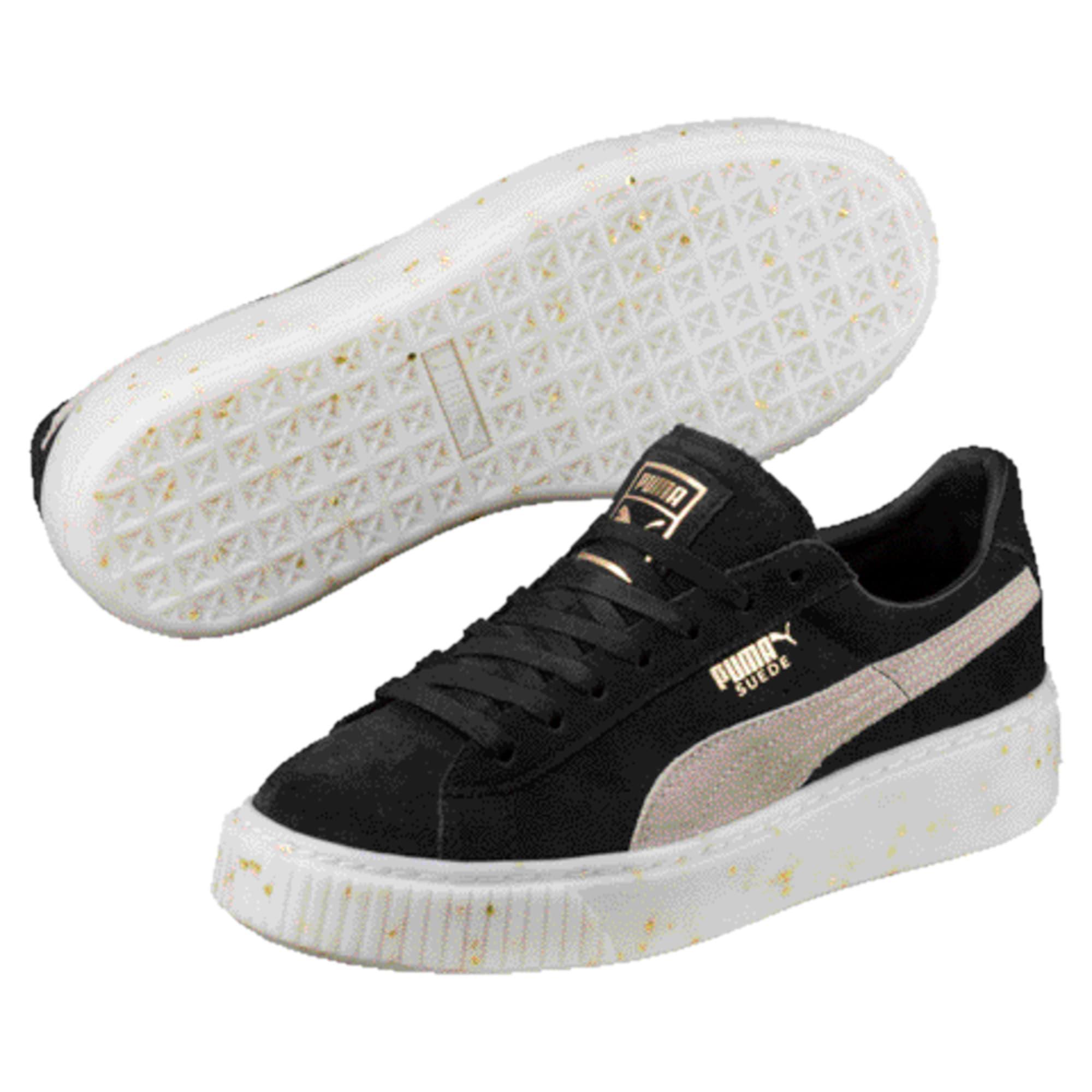 Thumbnail 1 of Suede Platform Celebrate Women's Sneakers, Puma Black-Puma White-Gold, medium