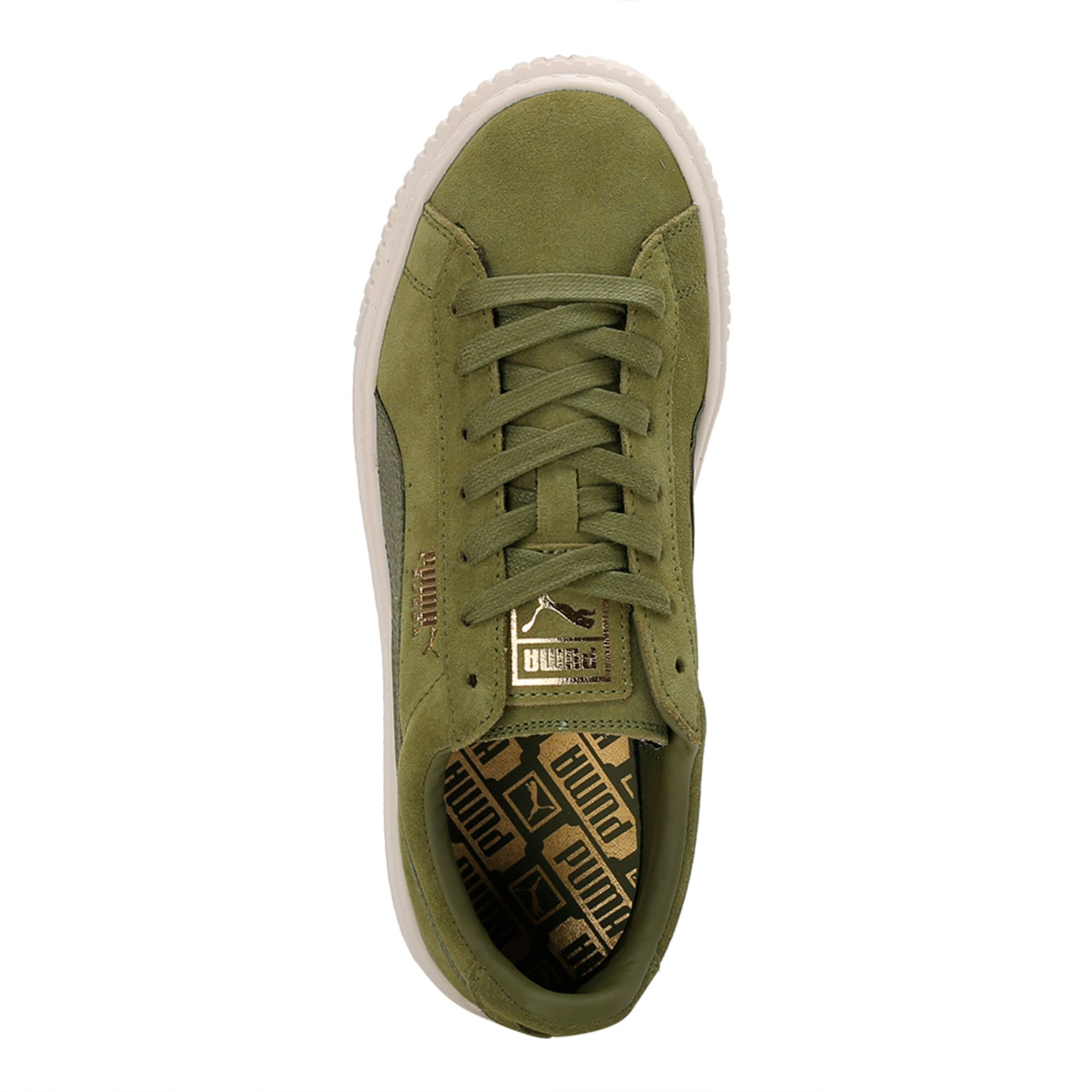 Thumbnail 3 of Suede Platform Satin Women's Trainers, Olive Branch-Whisper- Gold, medium-IND