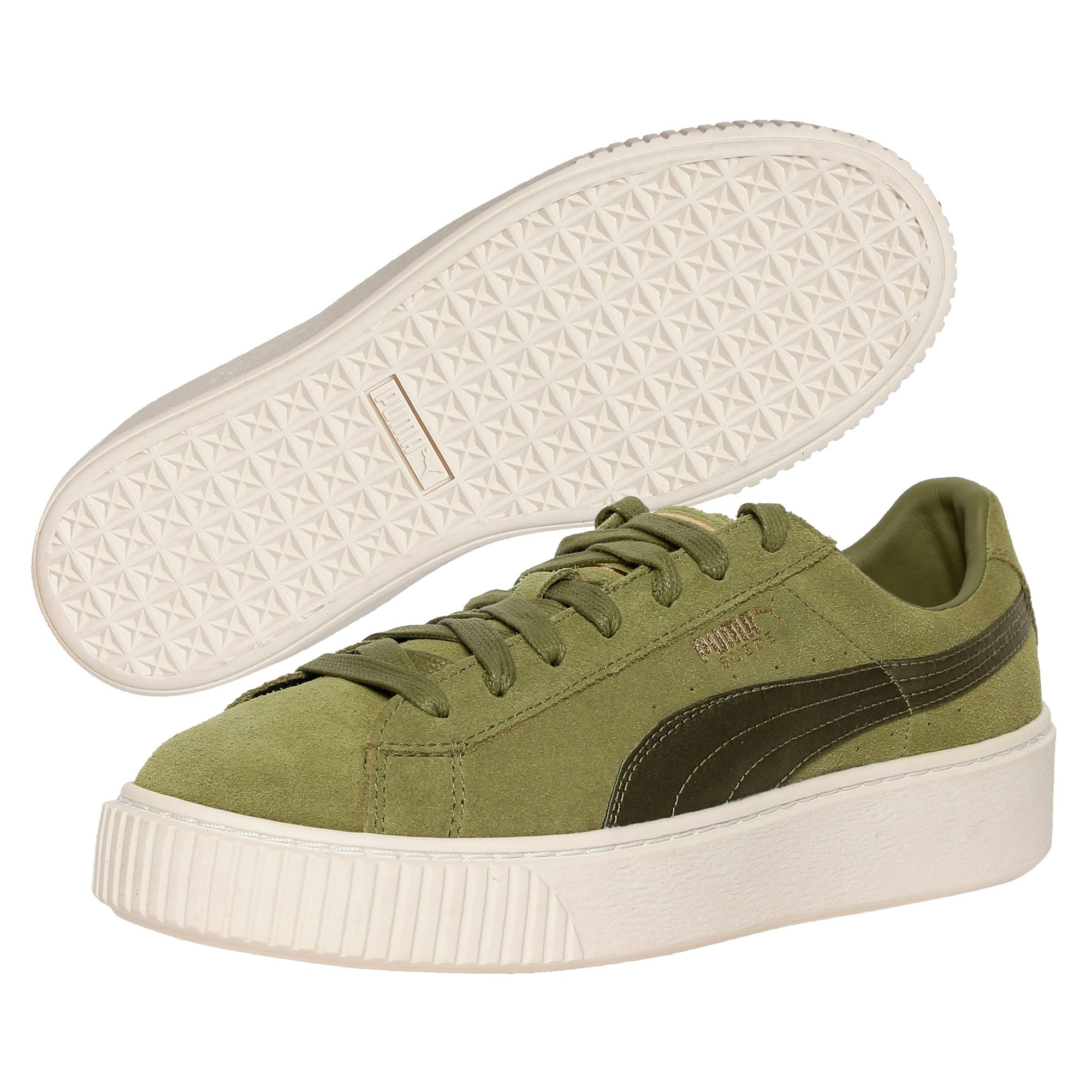 Thumbnail 2 of Suede Platform Satin Women's Trainers, Olive Branch-Whisper- Gold, medium-IND
