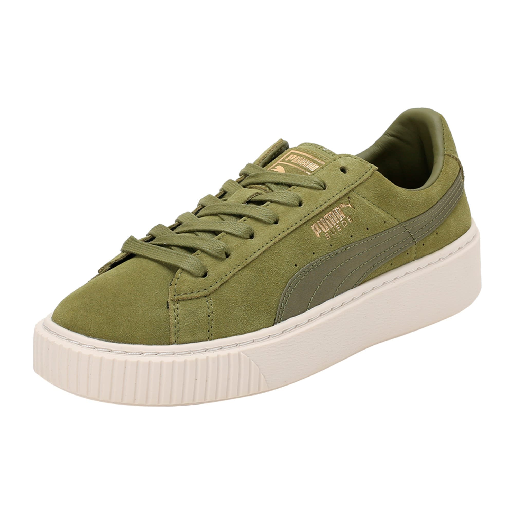 Thumbnail 1 of Suede Platform Satin Women's Trainers, Olive Branch-Whisper- Gold, medium-IND
