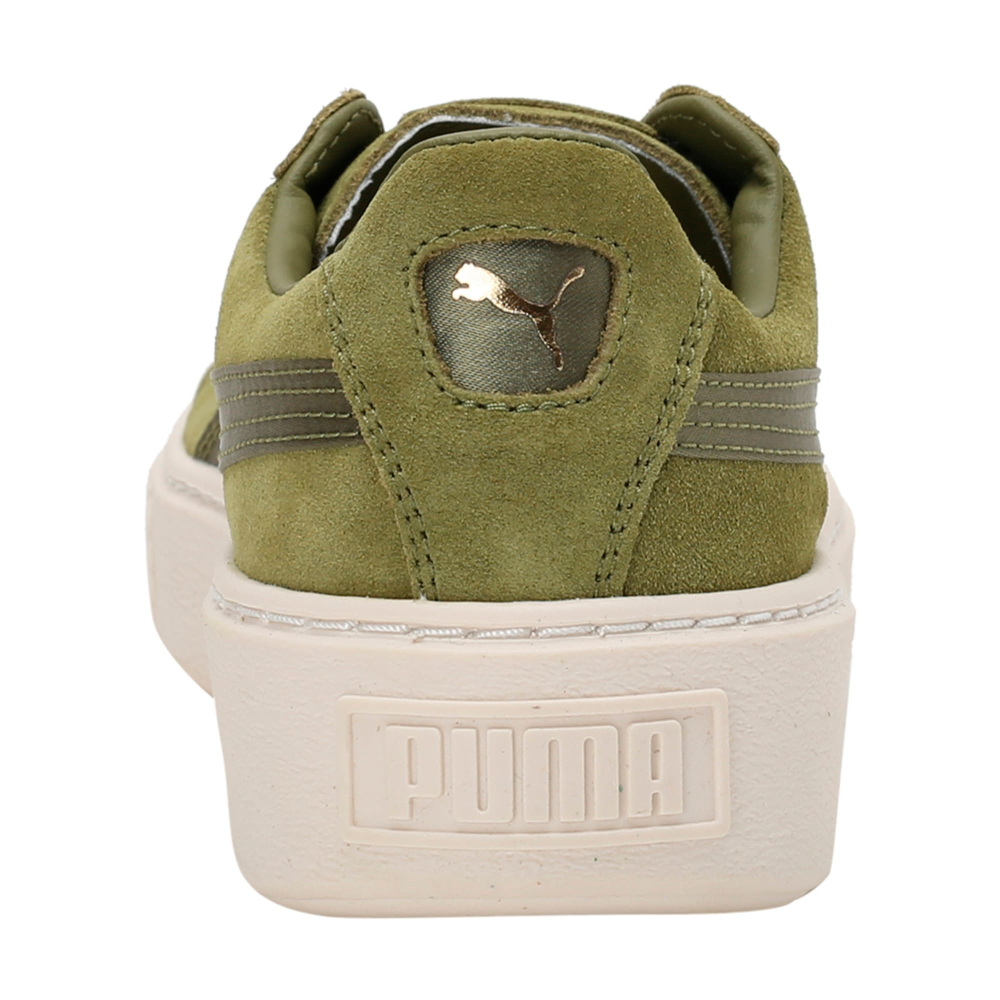 Thumbnail 4 of Suede Platform Satin Women's Trainers, Olive Branch-Whisper- Gold, medium-IND