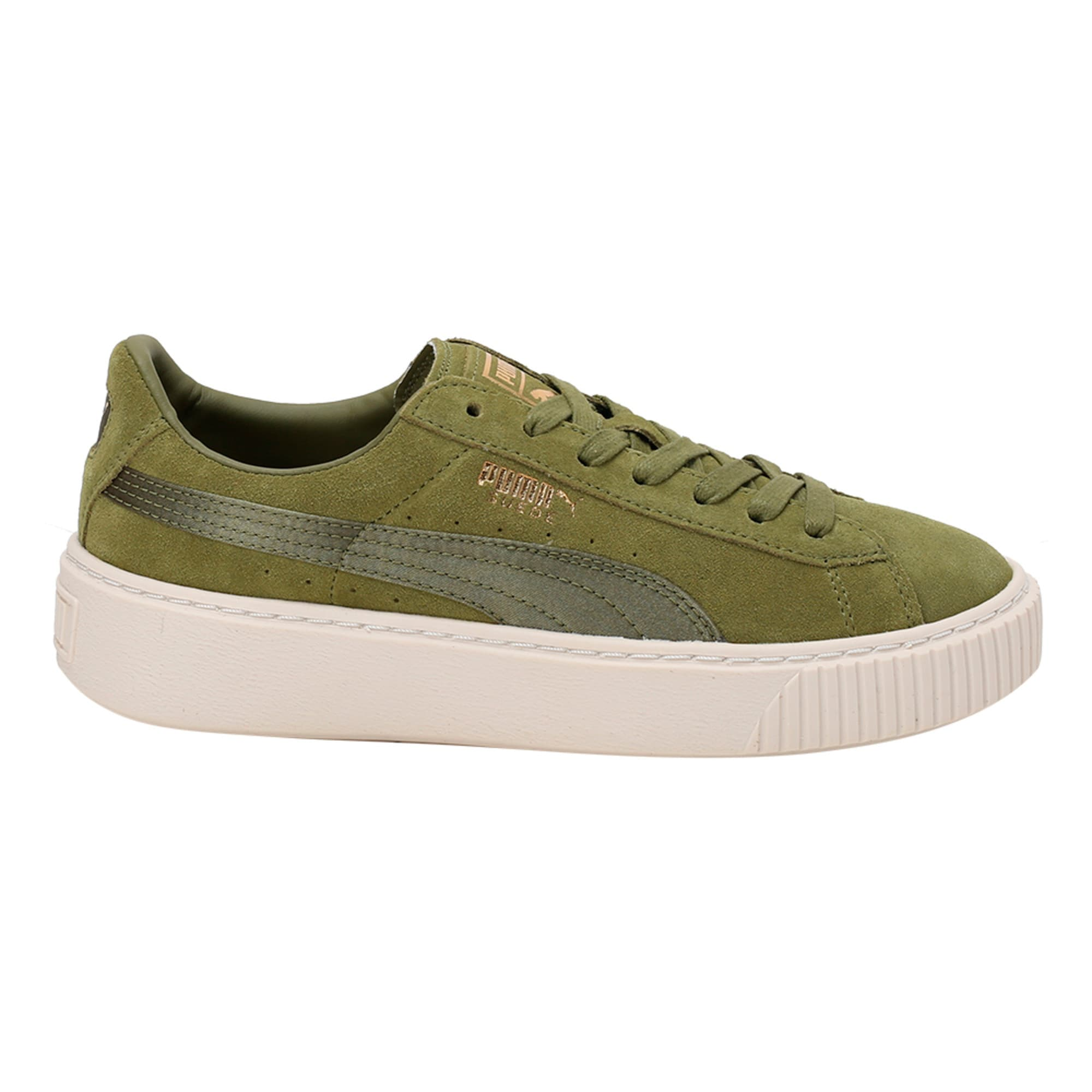 Thumbnail 5 of Suede Platform Satin Women's Trainers, Olive Branch-Whisper- Gold, medium-IND