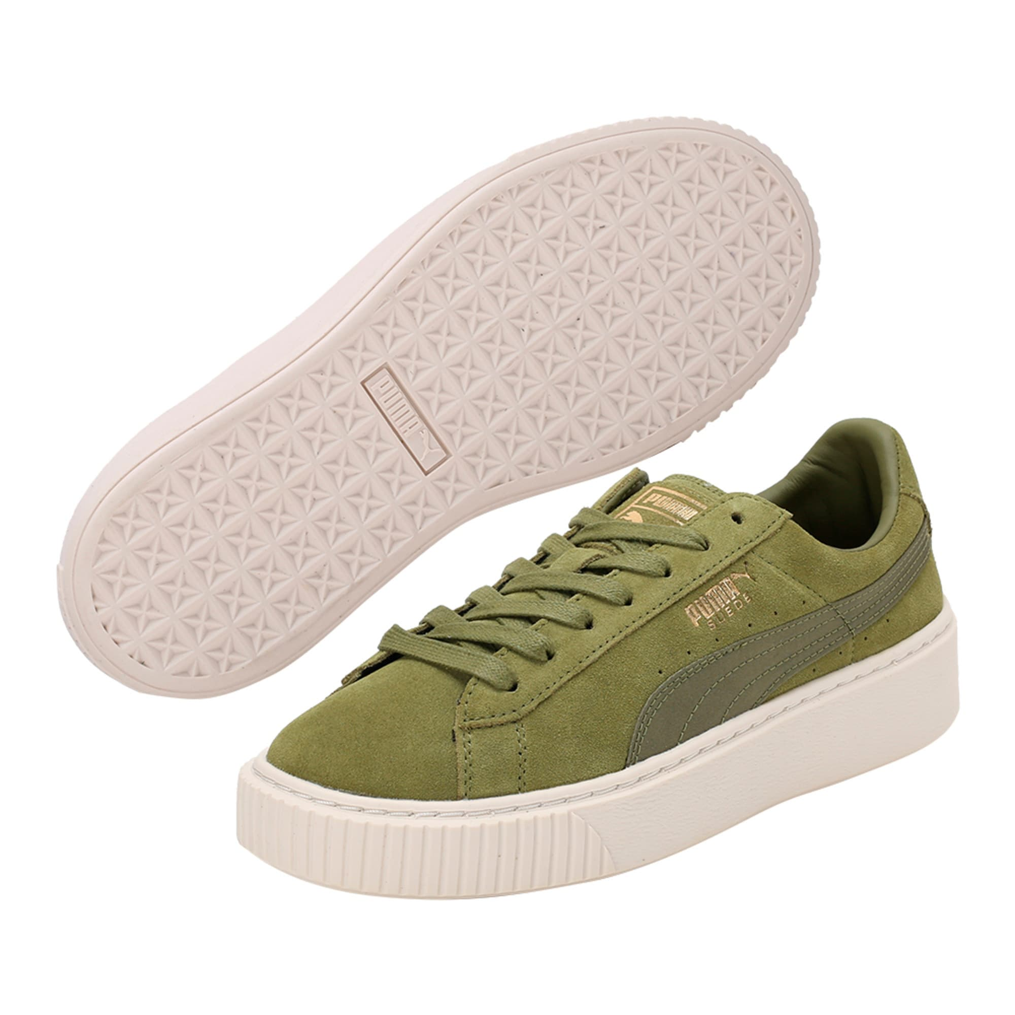 Thumbnail 6 of Suede Platform Satin Women's Trainers, Olive Branch-Whisper- Gold, medium-IND