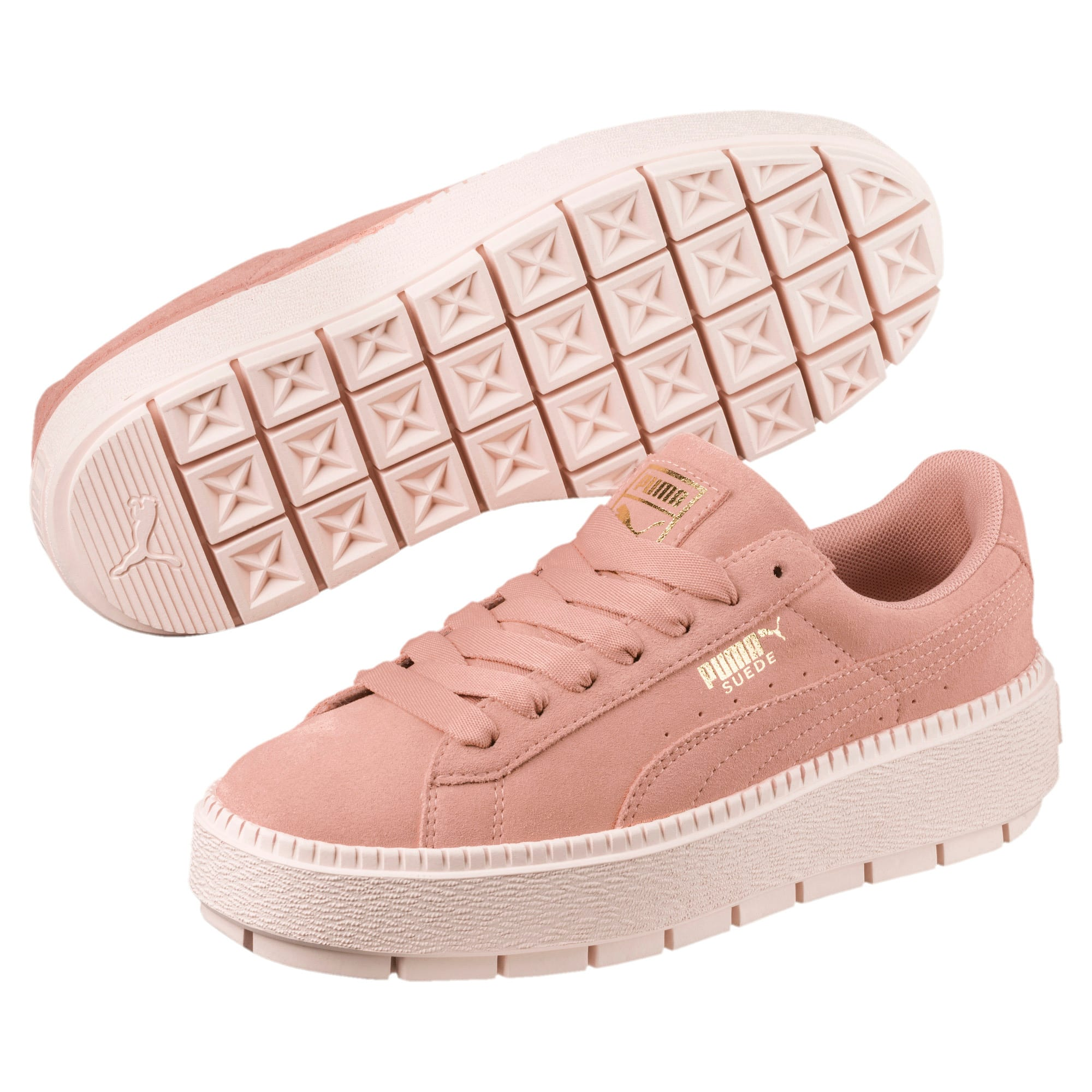Thumbnail 2 of Platform Trace Women's Trainers, Peach Beige-Pearl, medium-IND