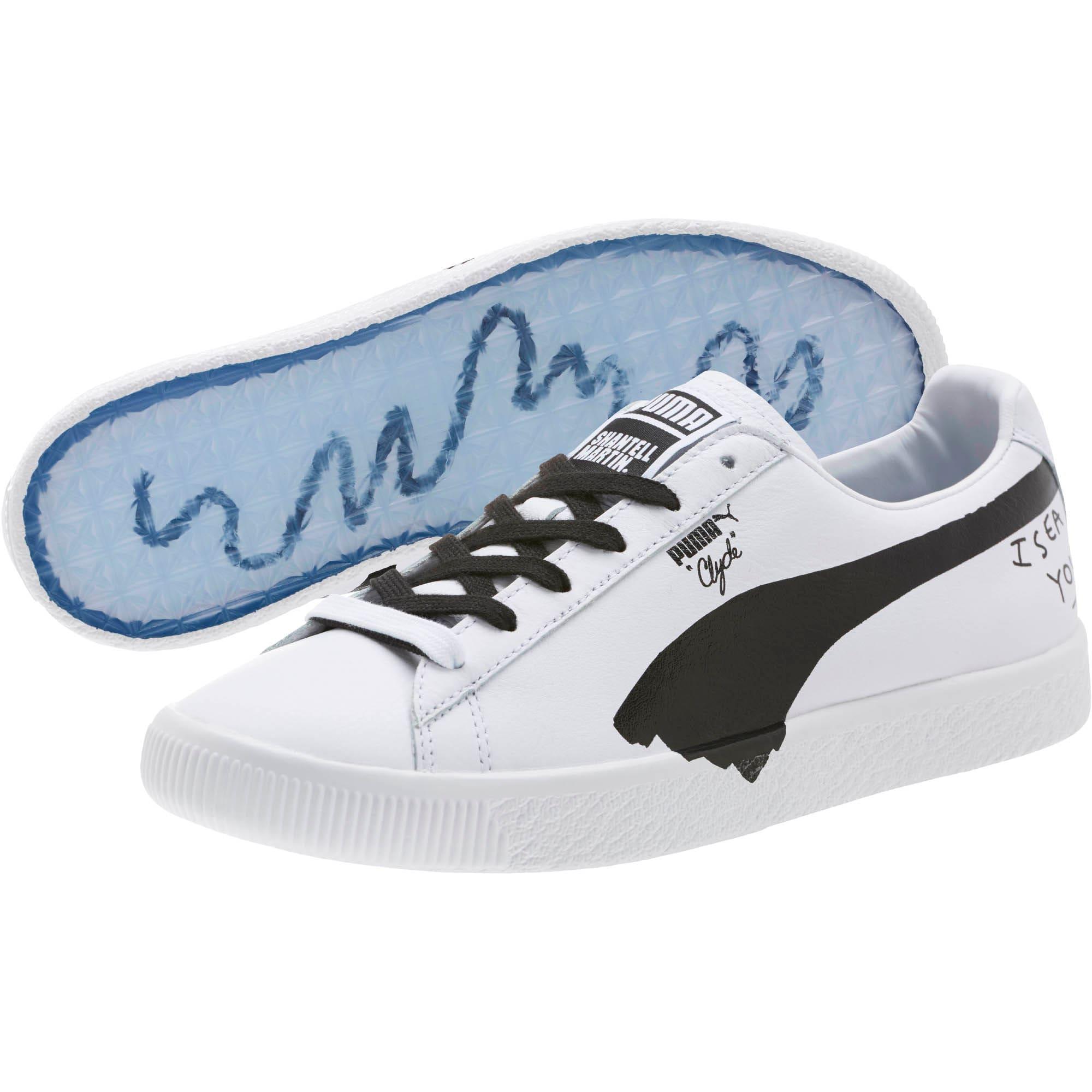 Thumbnail 2 of PUMA x SHANTELL MARTIN Clyde Sneakers, Puma White-Puma Black, medium