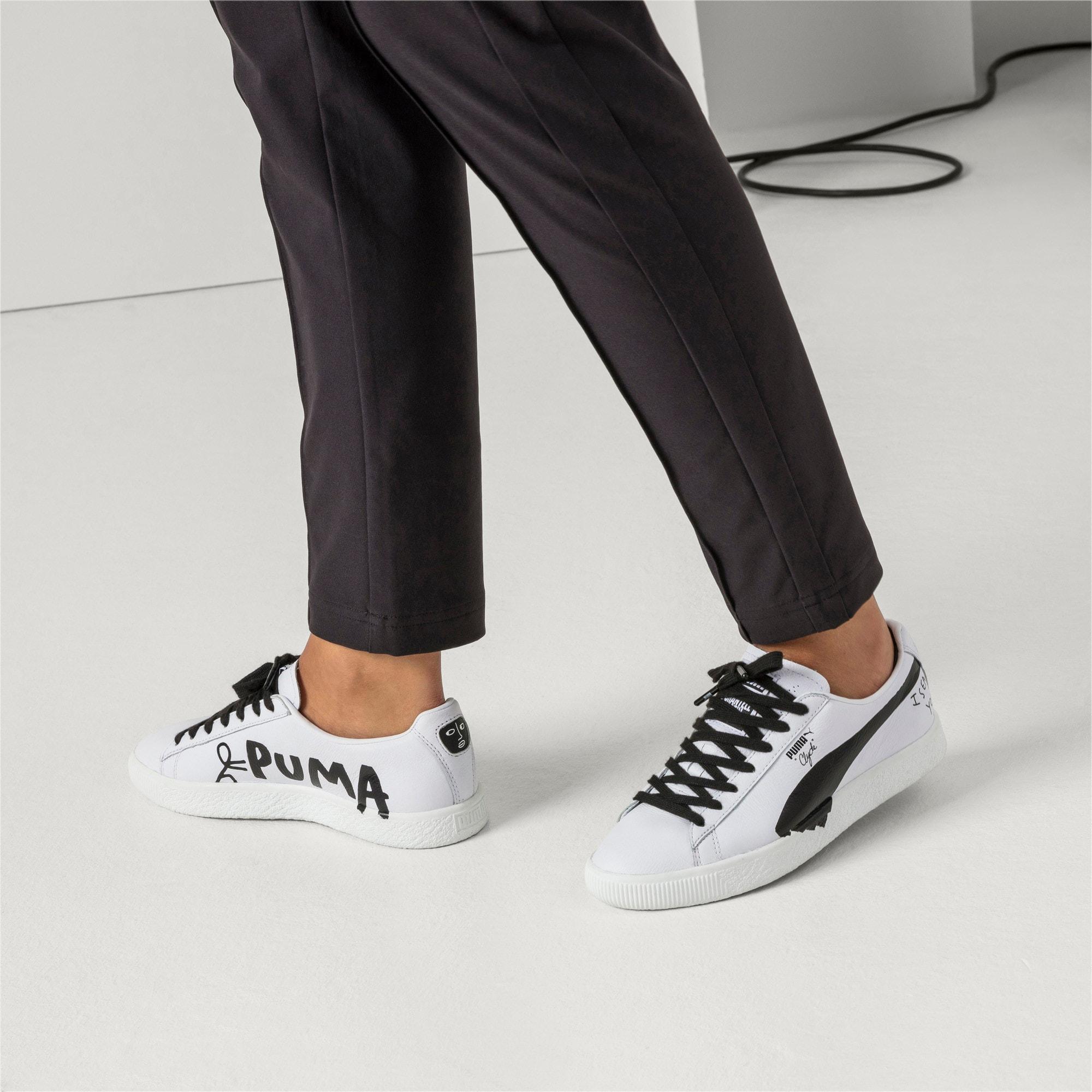 Thumbnail 7 of PUMA x SHANTELL MARTIN Clyde Sneakers, Puma White-Puma Black, medium