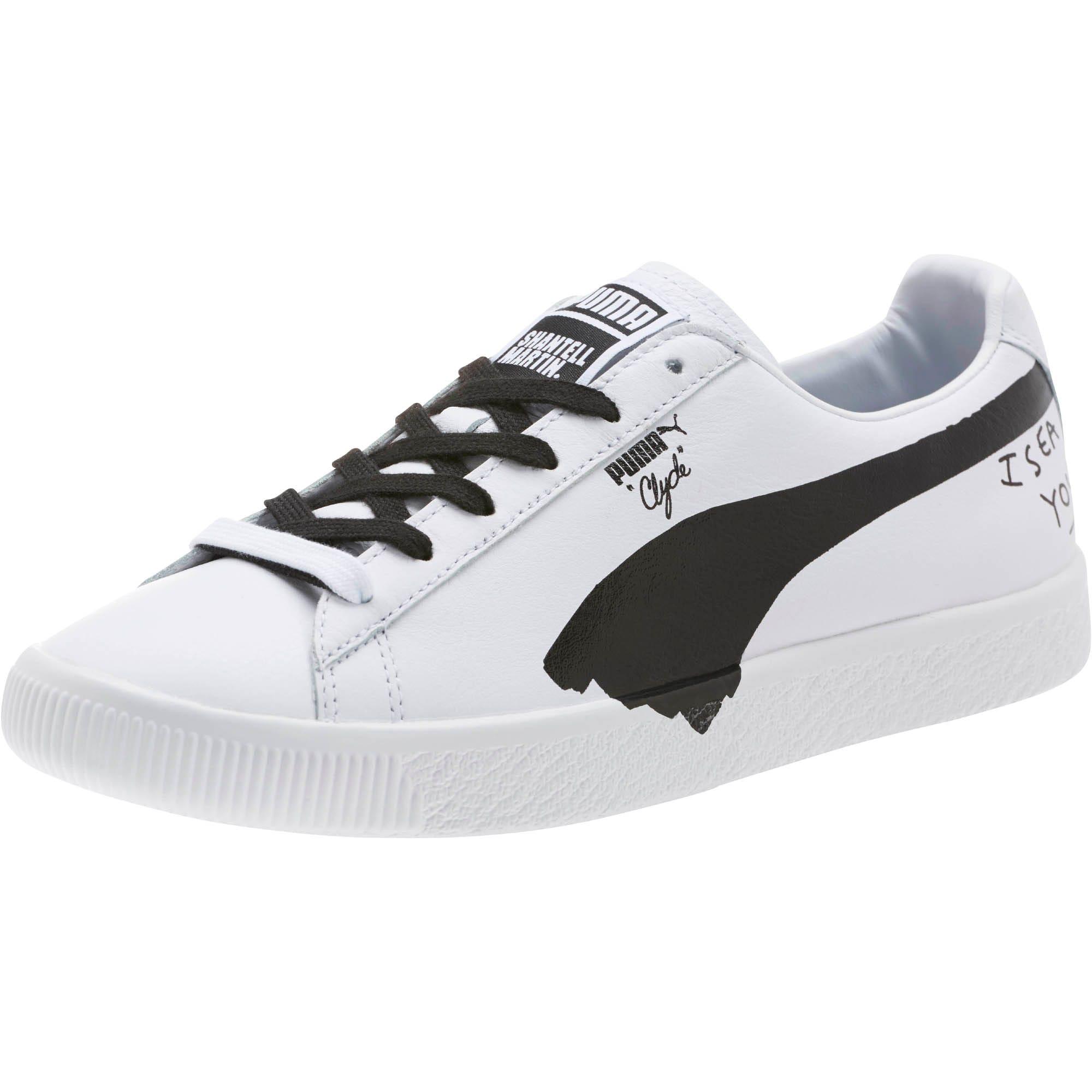 Thumbnail 1 of PUMA x SHANTELL MARTIN Clyde Sneakers, Puma White-Puma Black, medium