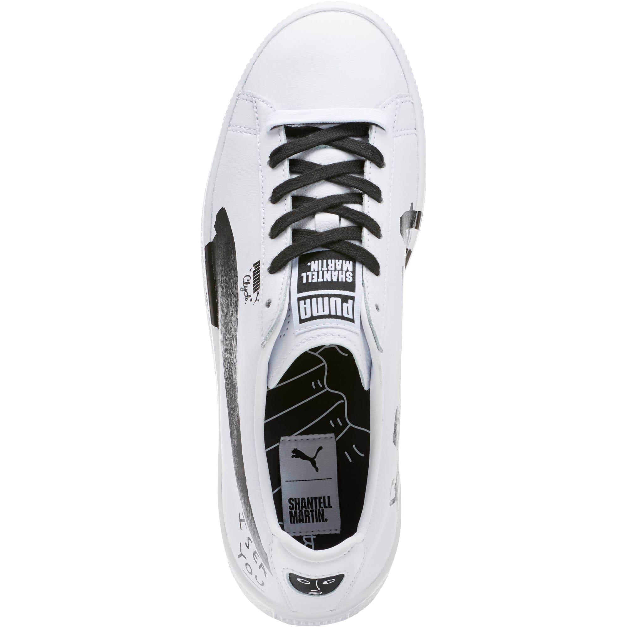 Thumbnail 5 of PUMA x SHANTELL MARTIN Clyde Sneakers, Puma White-Puma Black, medium