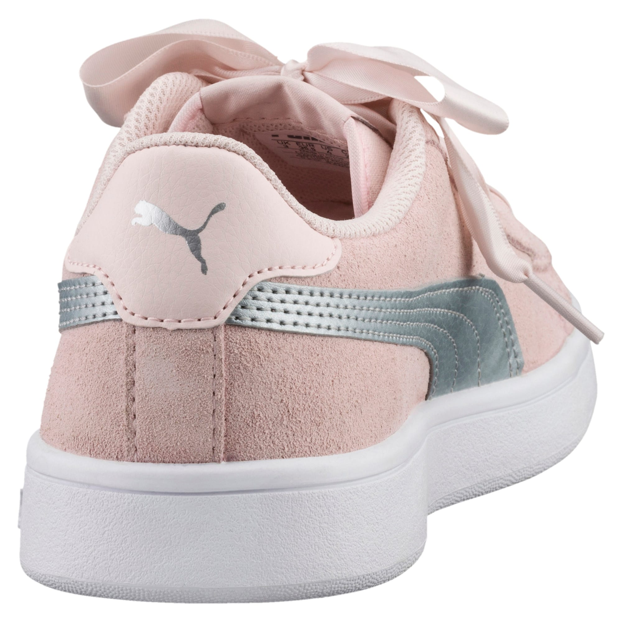 Thumbnail 3 of Smash v2 Ribbon Jr Trainers, Pearl-Puma Silver, medium-IND