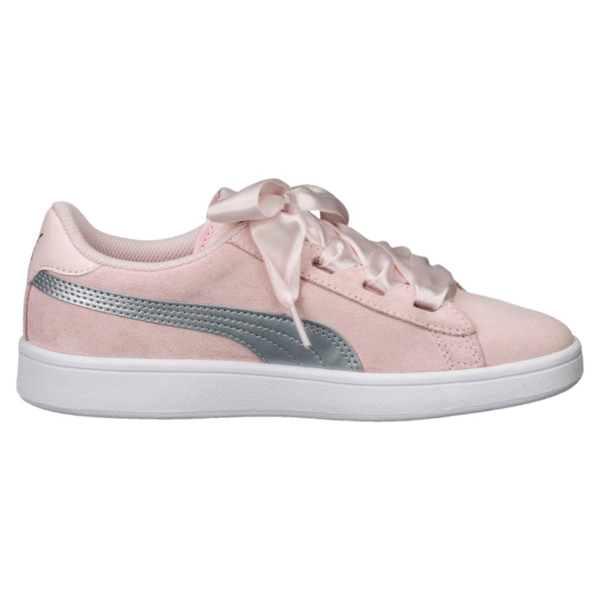 Thumbnail 2 of Smash v2 Ribbon Jr Trainers, Pearl-Puma Silver, medium-IND