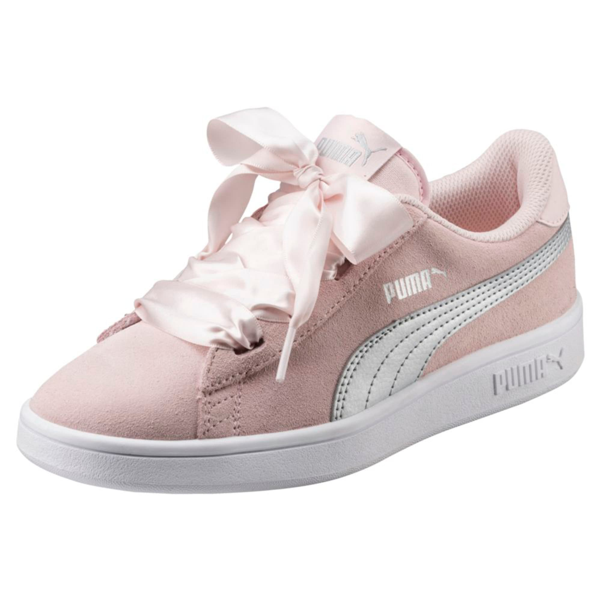 Thumbnail 1 of Smash v2 Ribbon Jr Trainers, Pearl-Puma Silver, medium-IND