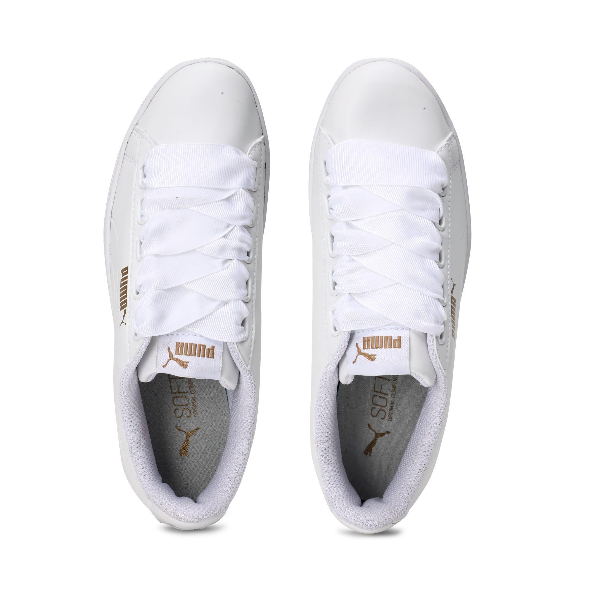 Thumbnail 4 of Women's Puma Vikky Ribbon Sneakers, Puma White-Puma White, medium-IND
