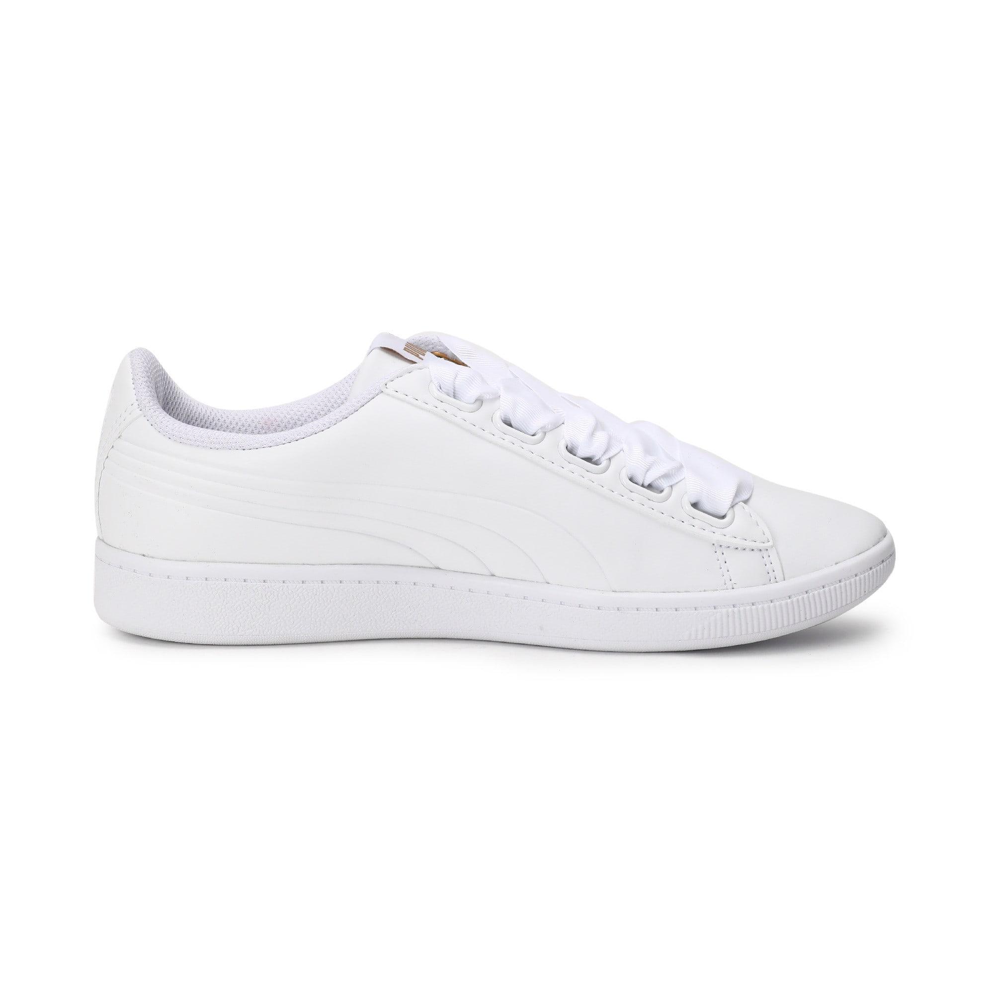 Thumbnail 5 of Women's Puma Vikky Ribbon Sneakers, Puma White-Puma White, medium-IND