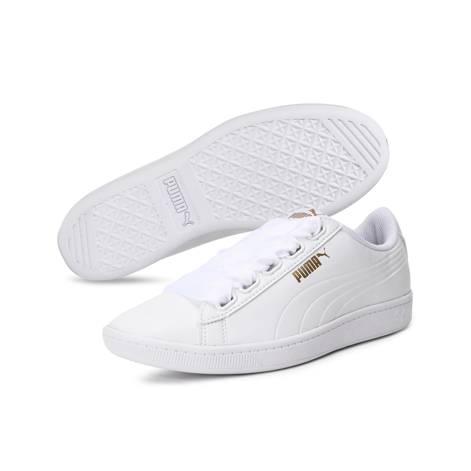 Thumbnail 6 of Women's Puma Vikky Ribbon Sneakers, Puma White-Puma White, medium-IND