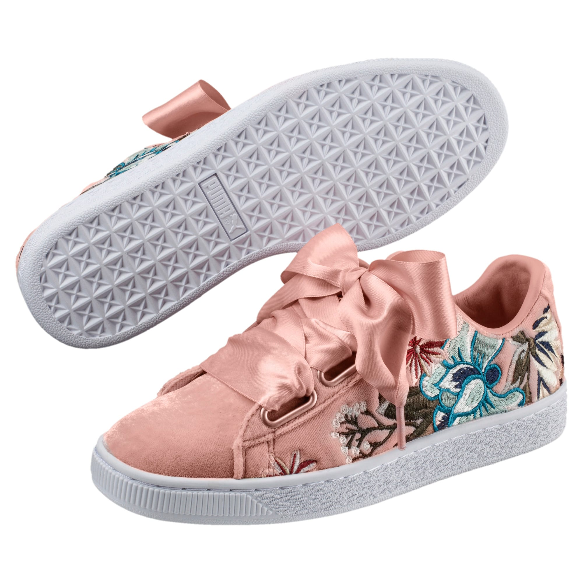 Thumbnail 2 of Basket Heart Hyper Embroidery Women's Trainers, Peach Beige, medium-IND