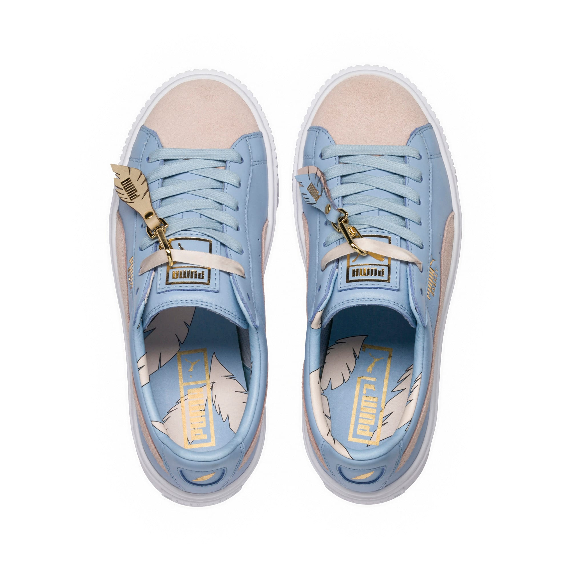 Thumbnail 5 of Basket Platform Coach Women's Trainers, Silver Peony-Cashmere Blue, medium-IND