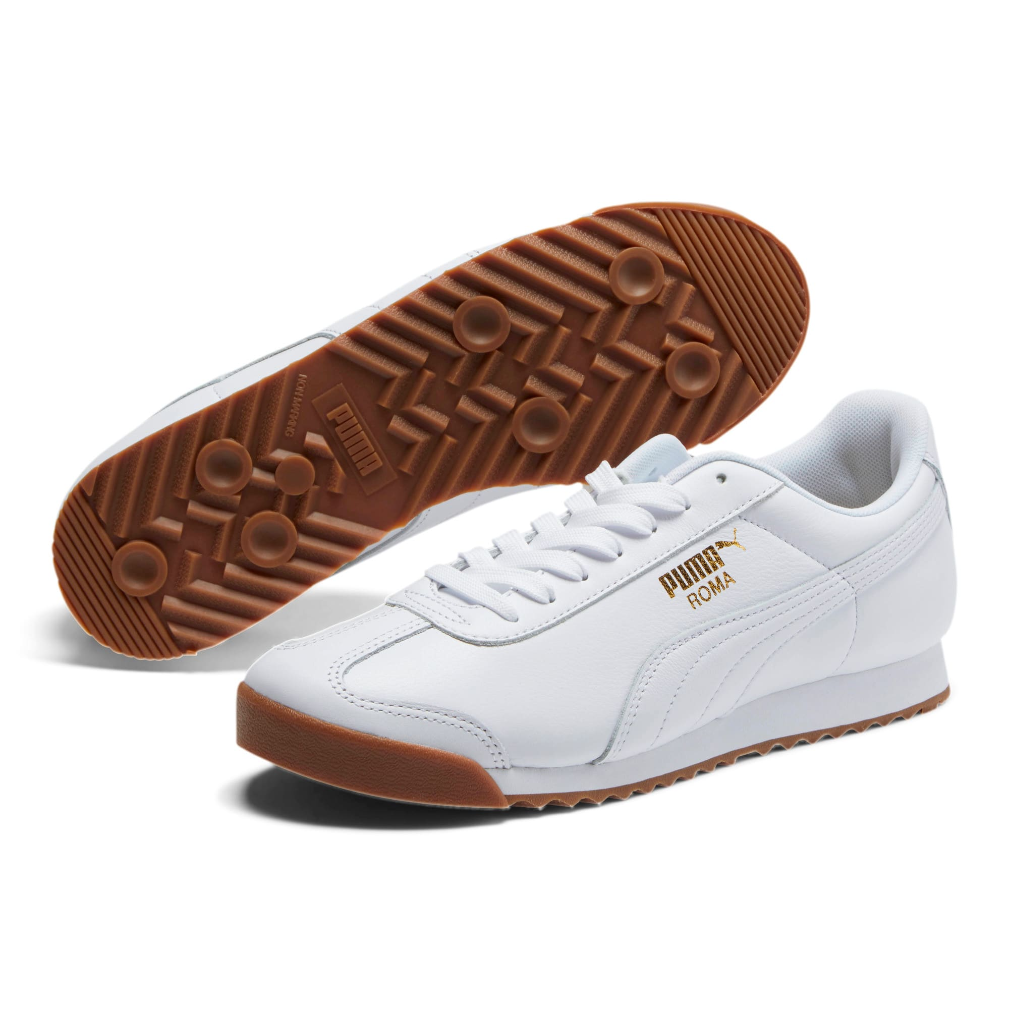 Thumbnail 2 of Roma Classic Gum Sneakers, Puma White-Puma Team Gold, medium