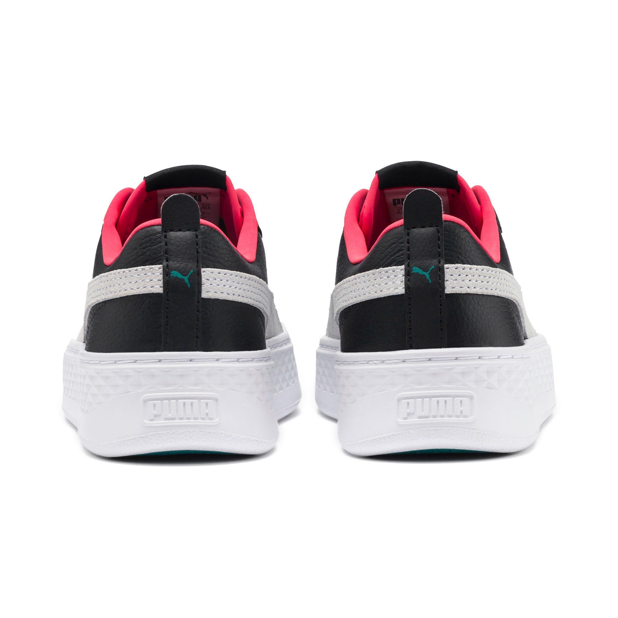 Thumbnail 5 of Puma Smash Platform Women's Shoes, Black-White-T Green-C Coral, medium-IND