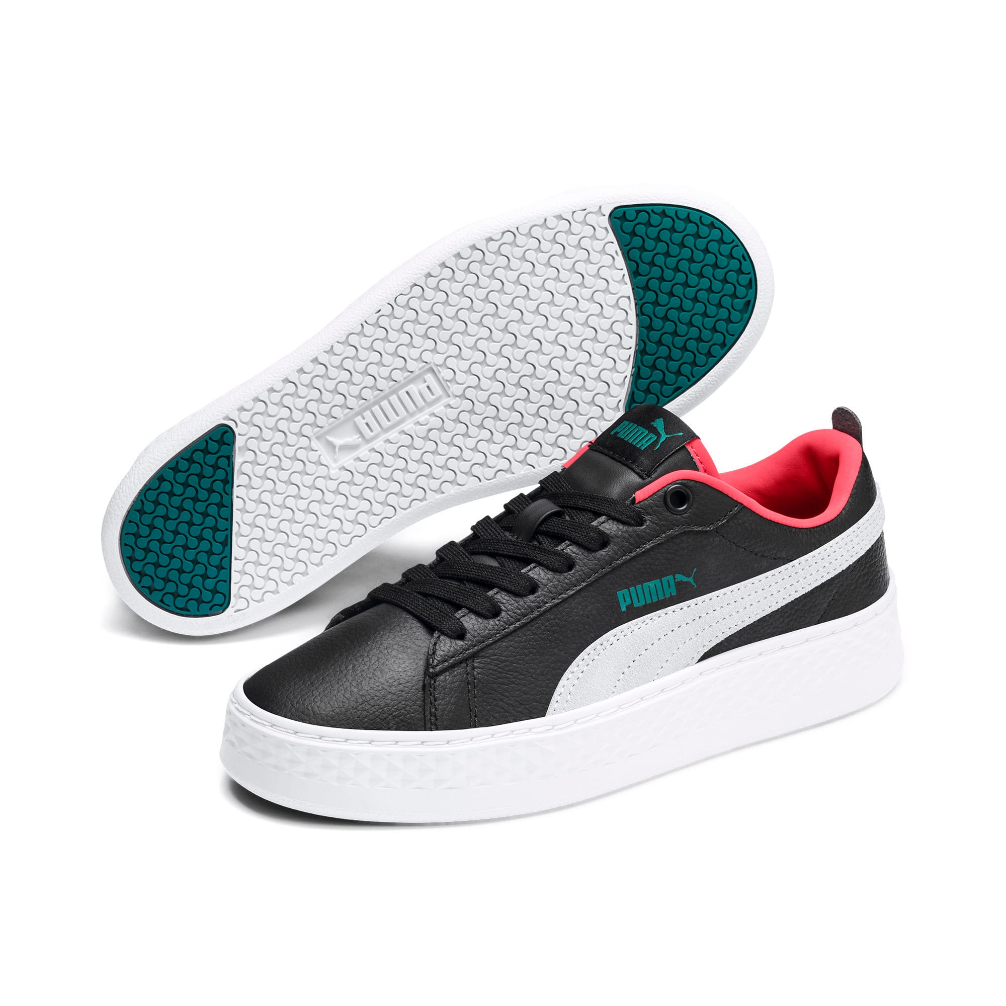 Thumbnail 4 of Puma Smash Platform Women's Shoes, Black-White-T Green-C Coral, medium-IND