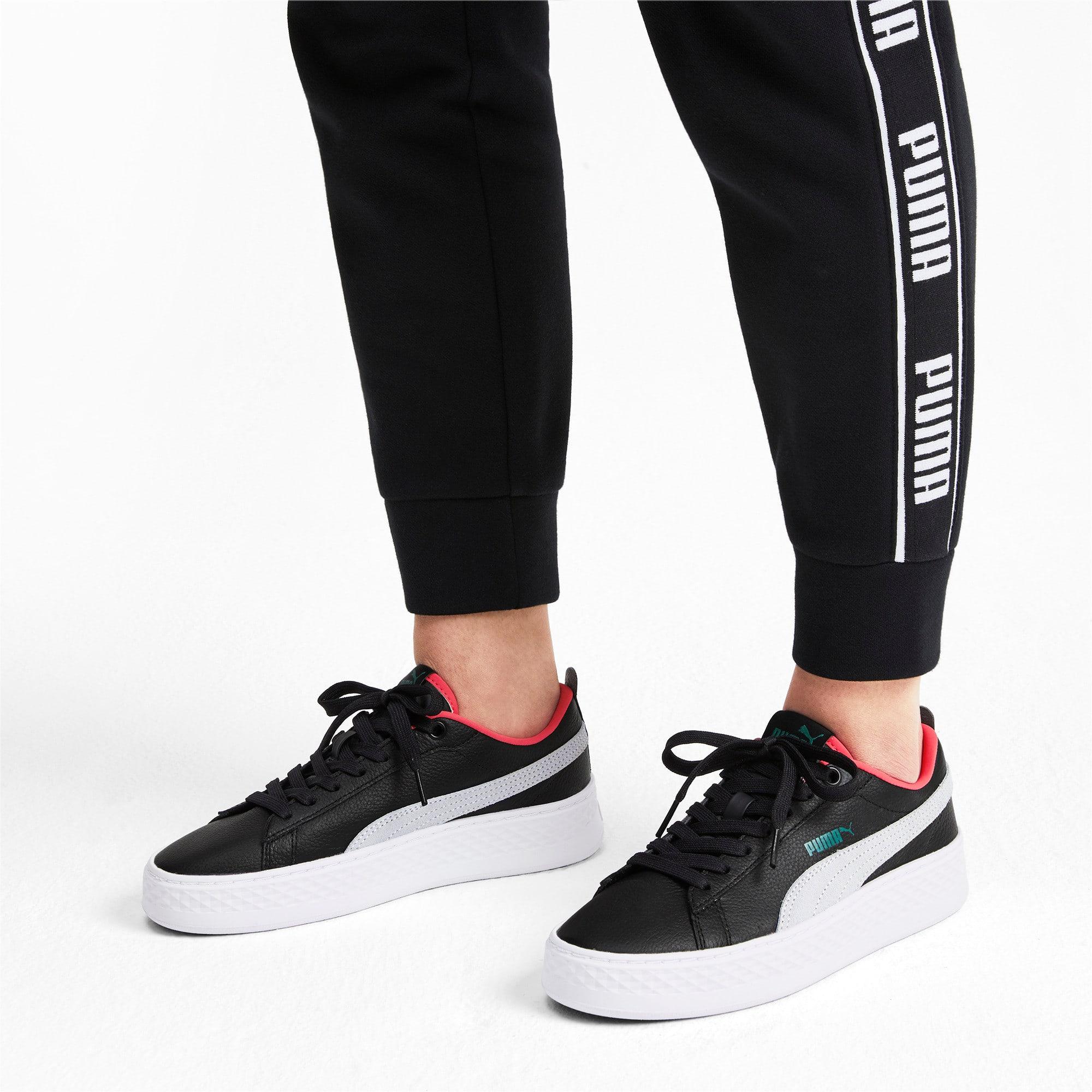 Thumbnail 2 of Puma Smash Platform Women's Shoes, Black-White-T Green-C Coral, medium-IND