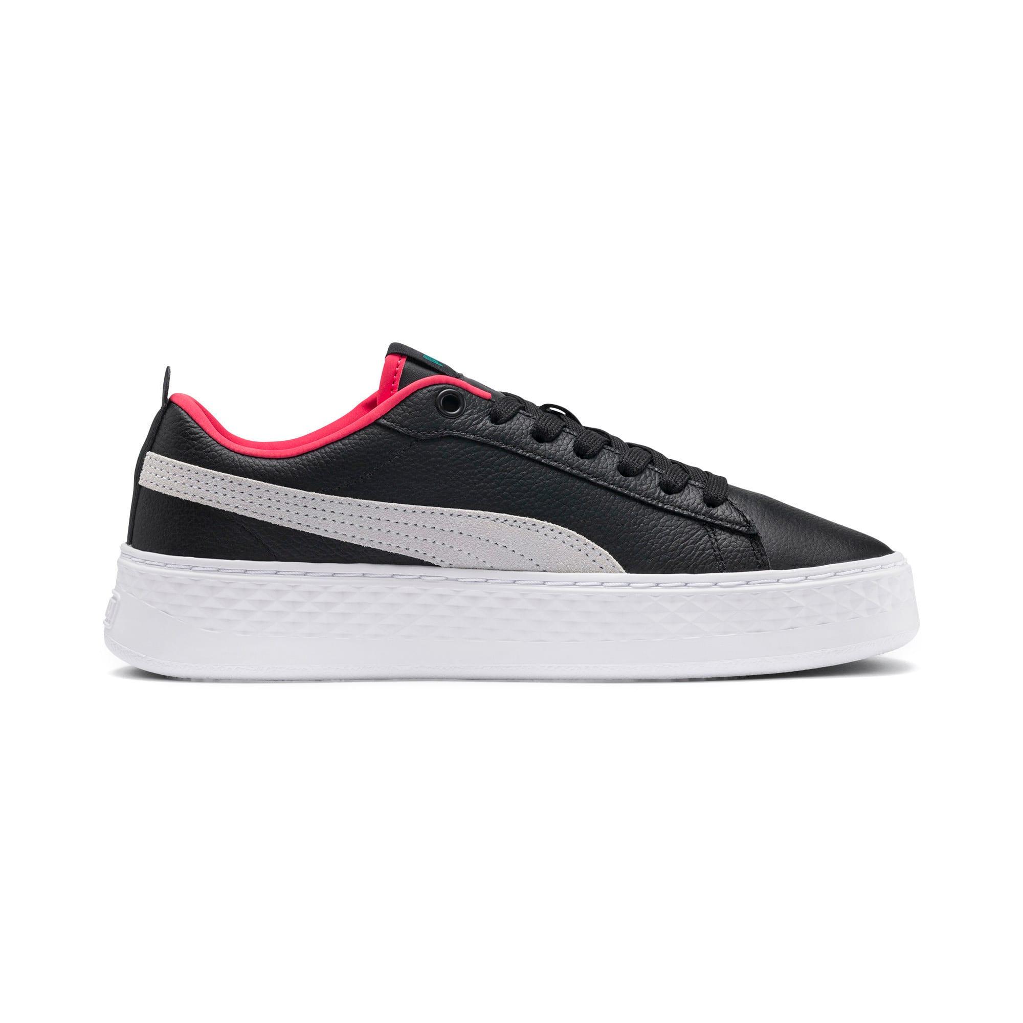 Thumbnail 7 of Puma Smash Platform Women's Shoes, Black-White-T Green-C Coral, medium-IND