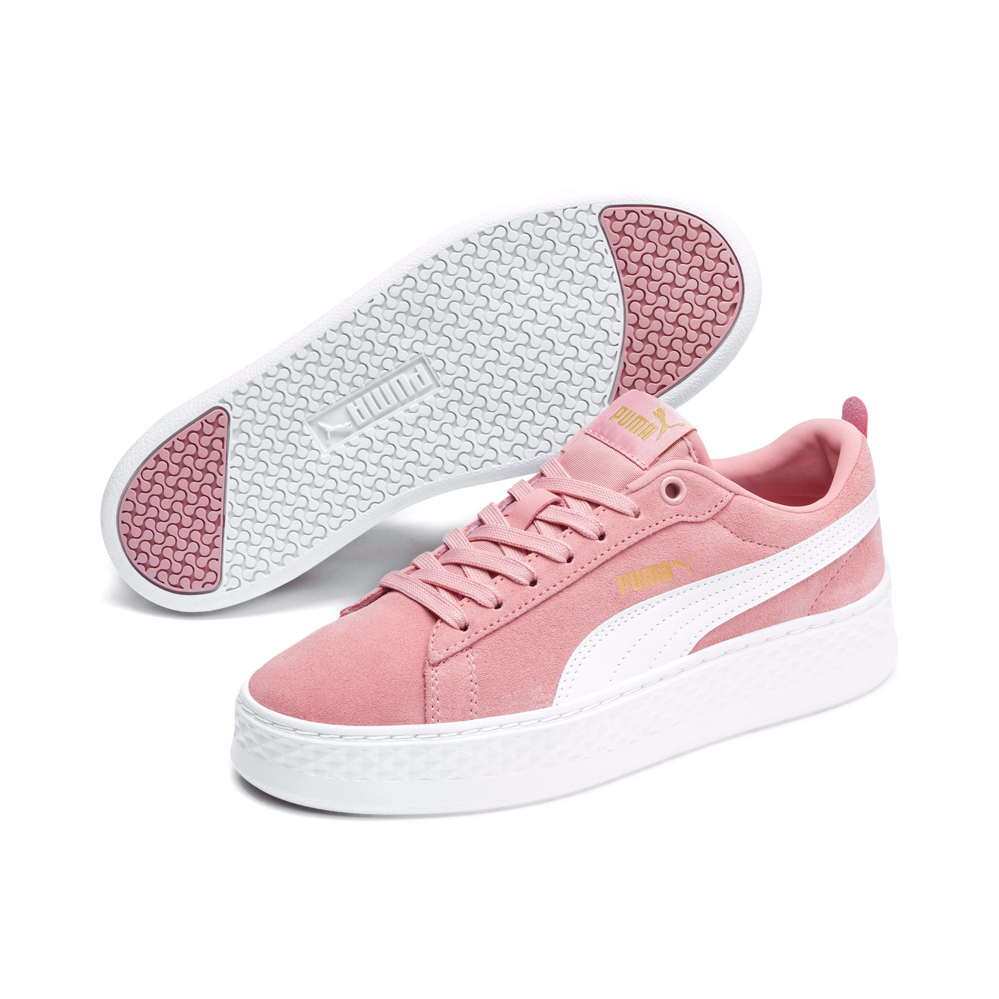 Smash Platform Suede Women's Trainers, Bridal Rose-Puma White-Gold, large