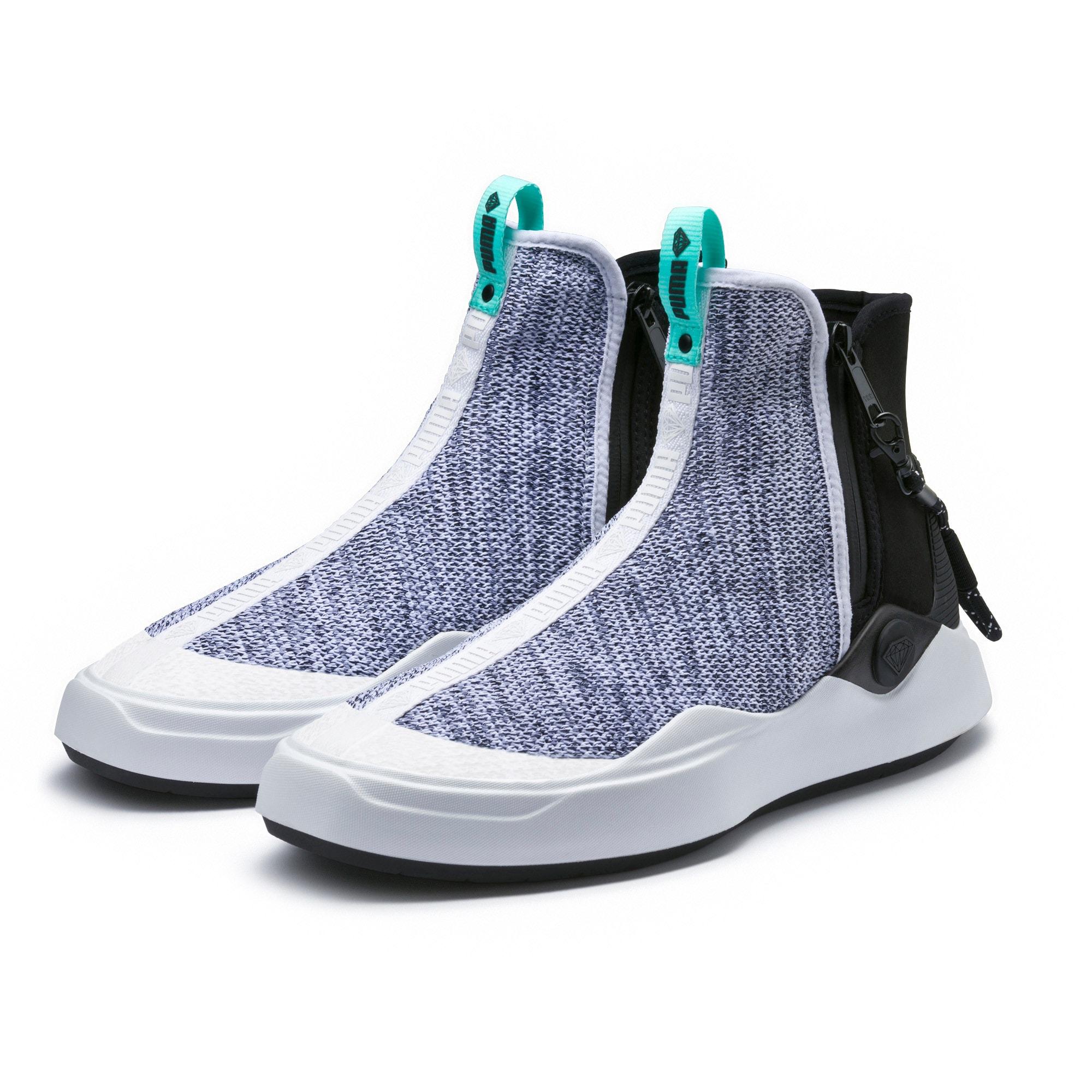Thumbnail 2 of PUMA x DIAMOND Abyss Knit Sneakers, Puma White-Puma Black, medium