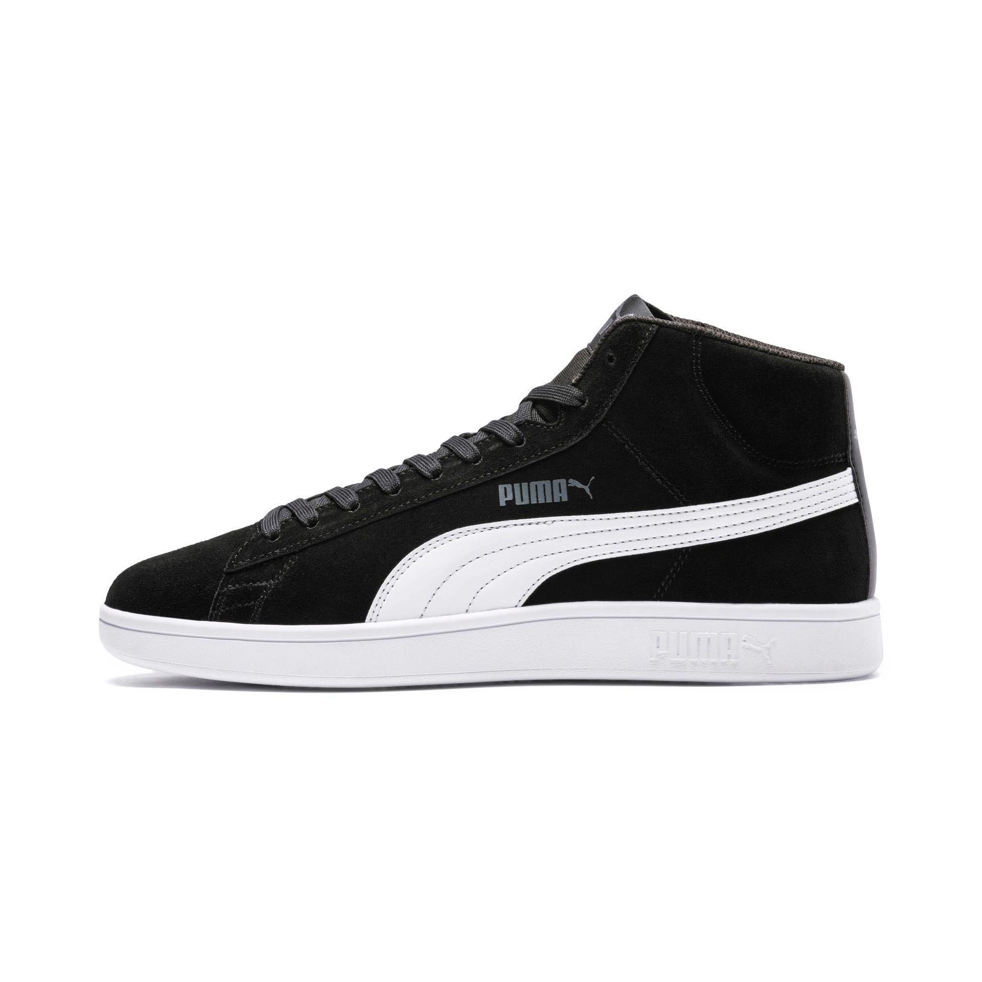 Thumbnail 1 of PUMA Smash v2 Suede Mid Sneakers, Puma Black-Puma White, medium