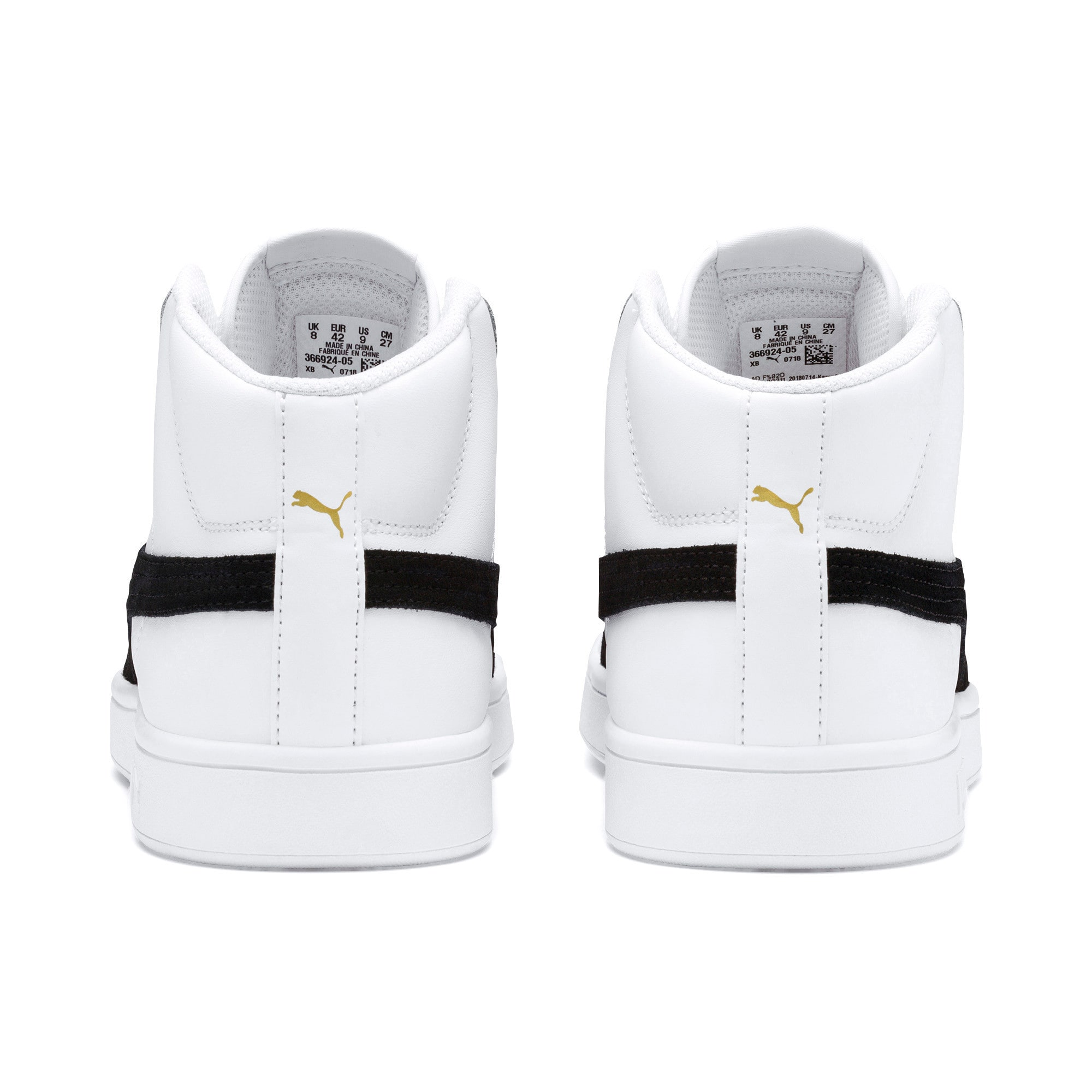 Thumbnail 5 of Smash v2 Mid-Cut Trainers, White-Black-Gold-High Rise, medium-IND