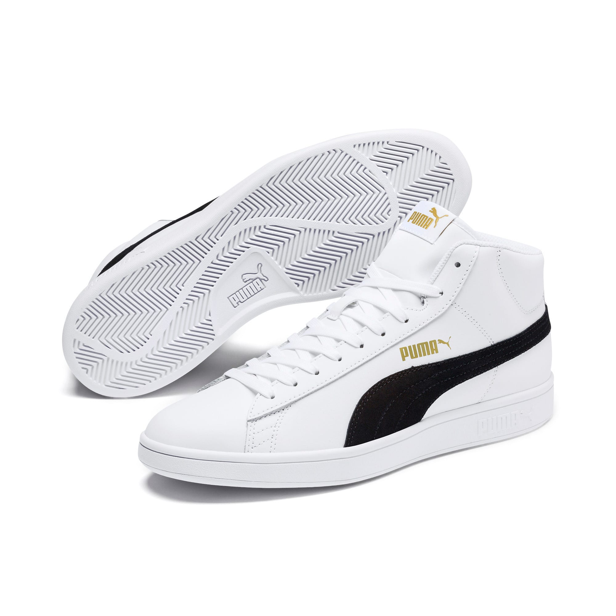 Thumbnail 4 of Smash v2 Mid-Cut Trainers, White-Black-Gold-High Rise, medium-IND