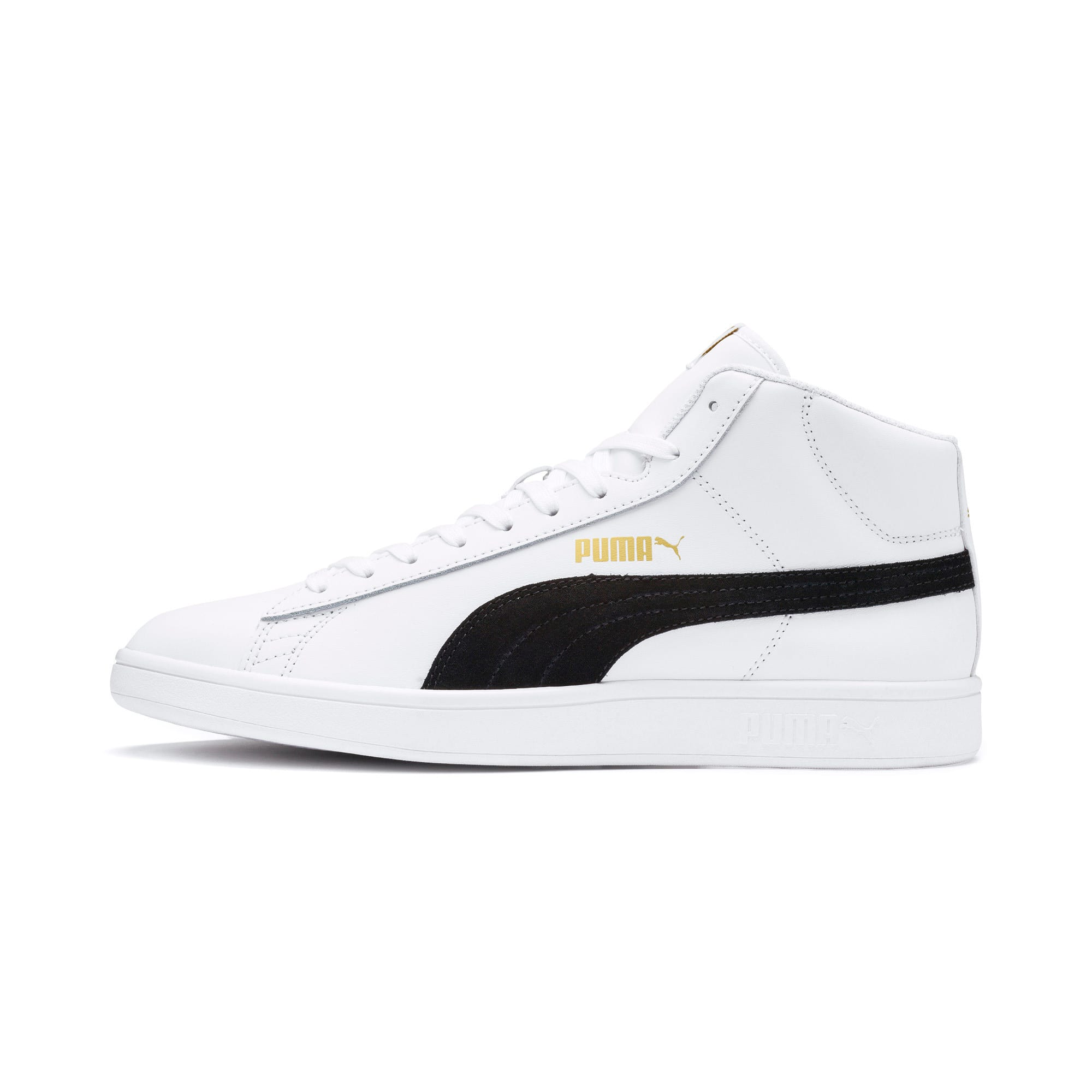 Thumbnail 1 of Smash v2 Mid-Cut Trainers, White-Black-Gold-High Rise, medium-IND