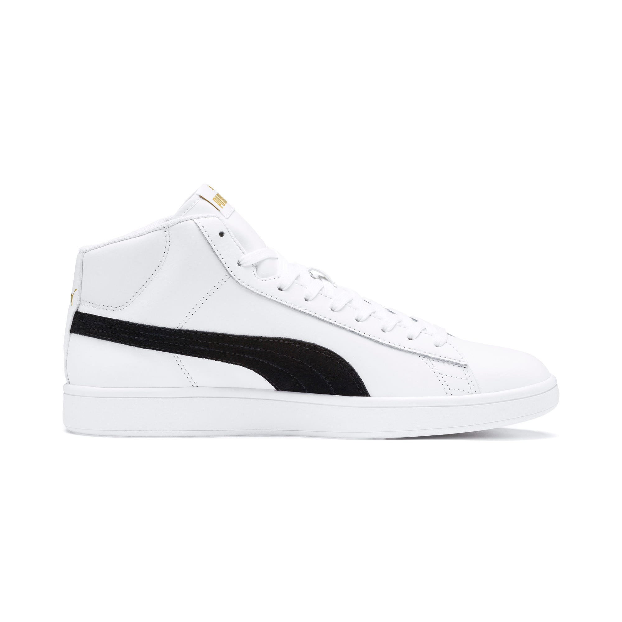 Thumbnail 7 of Smash v2 Mid-Cut Trainers, White-Black-Gold-High Rise, medium-IND
