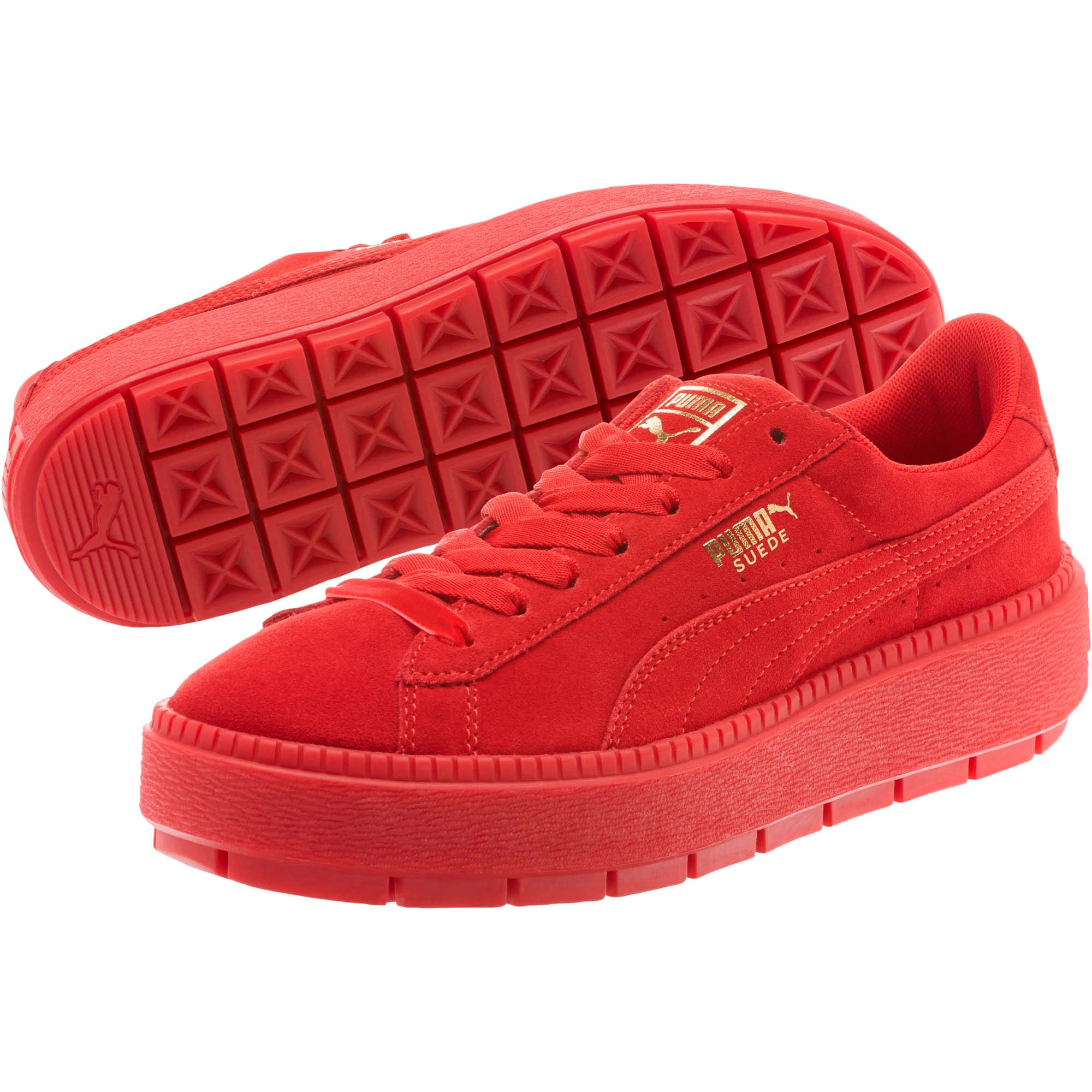 Thumbnail 2 of Suede Platform Trace Valentine's Day Women's Sneakers, Red Dahlia-Barbados Cherry, medium