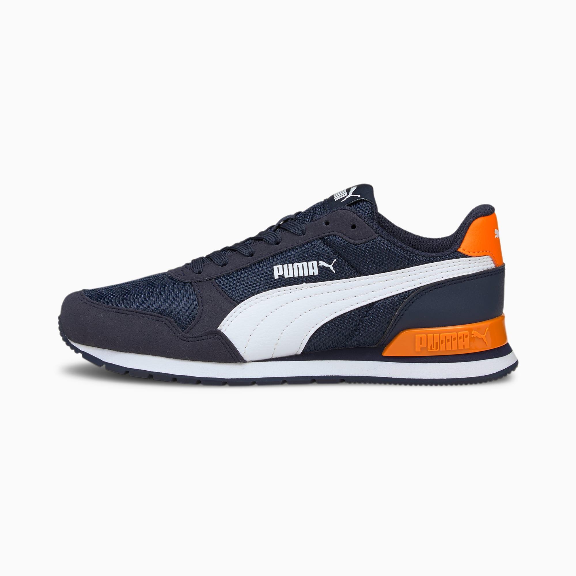 ST Runner v2 Mesh Sneakers JR, Peacoat-Puma White-Vibrant Orange, extralarge-IND