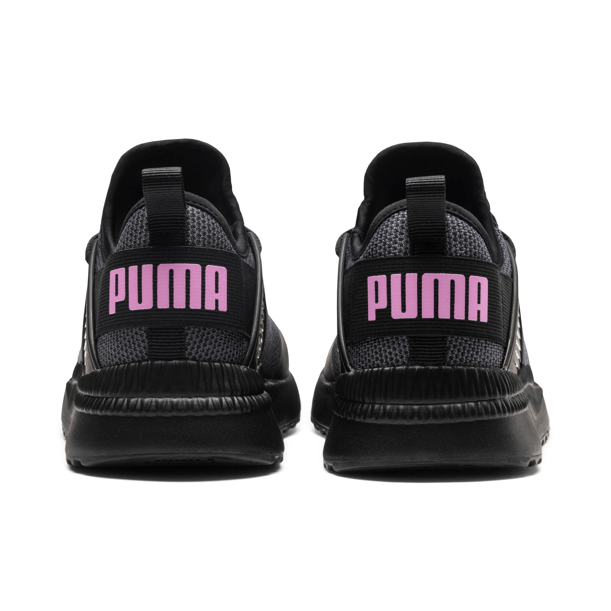 Thumbnail 2 of Pacer Next Cage Knit Kids' Trainers, Puma Black-Puma Black-Orchid, medium-IND