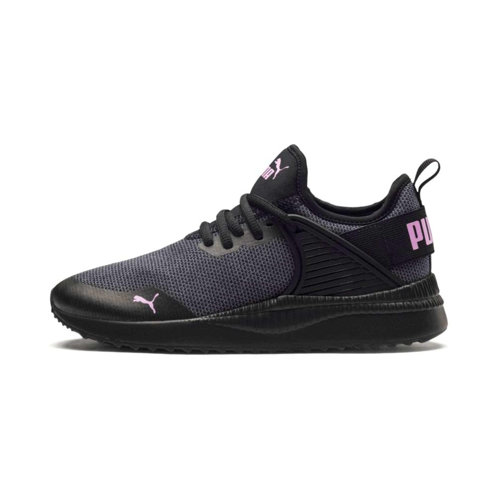 Thumbnail 1 of Pacer Next Cage Knit Kids' Trainers, Puma Black-Puma Black-Orchid, medium-IND