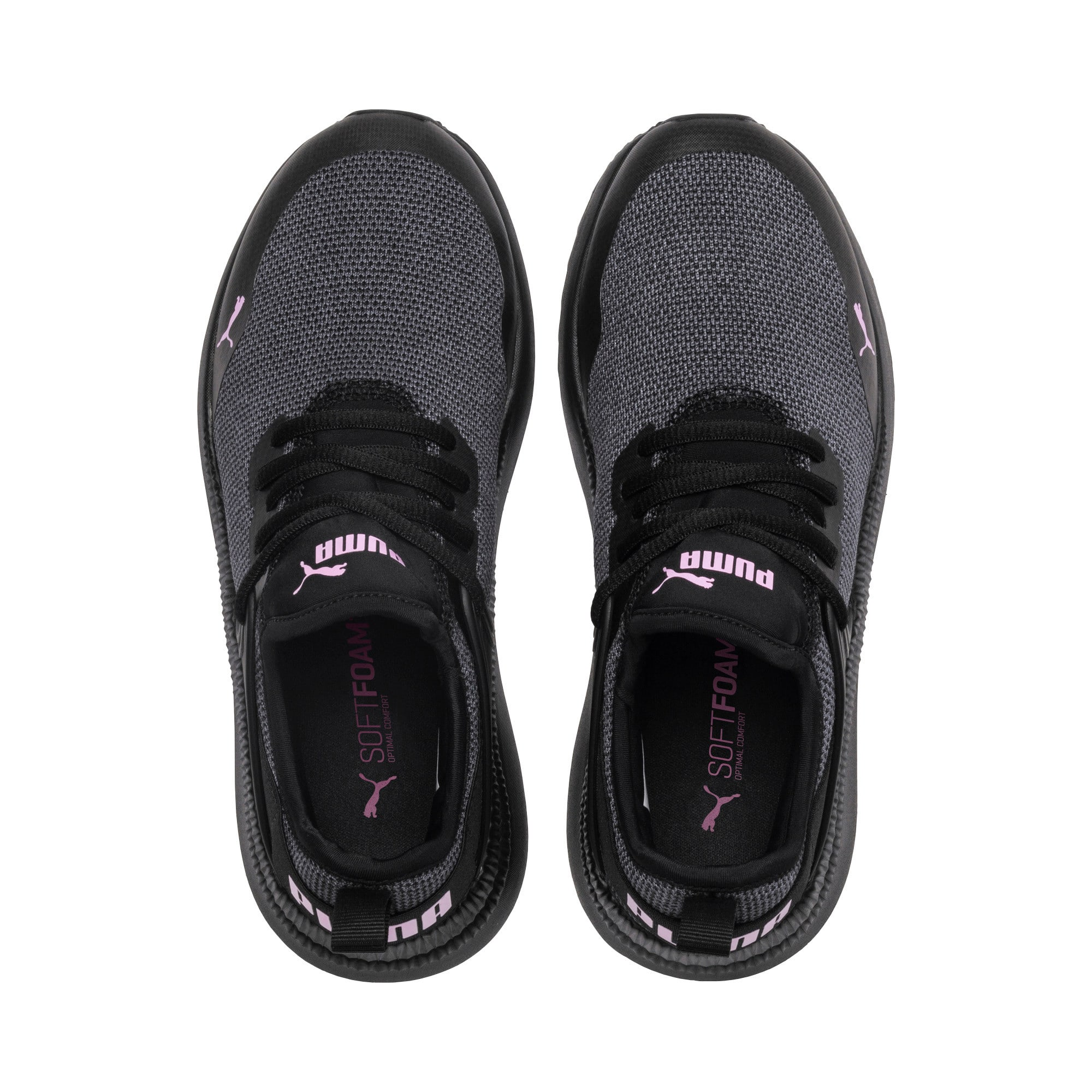 Thumbnail 6 of Pacer Next Cage Knit Kids' Trainers, Puma Black-Puma Black-Orchid, medium-IND