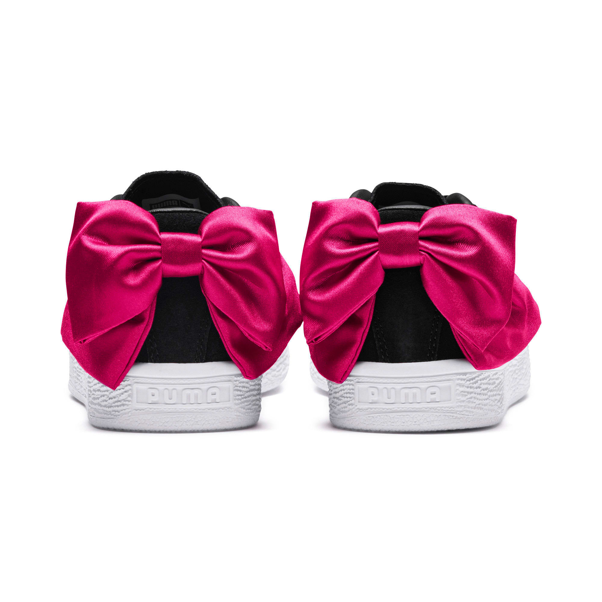 Thumbnail 2 of Suede Bow Girls' Trainers, Puma Black-Beetroot Purple, medium-IND