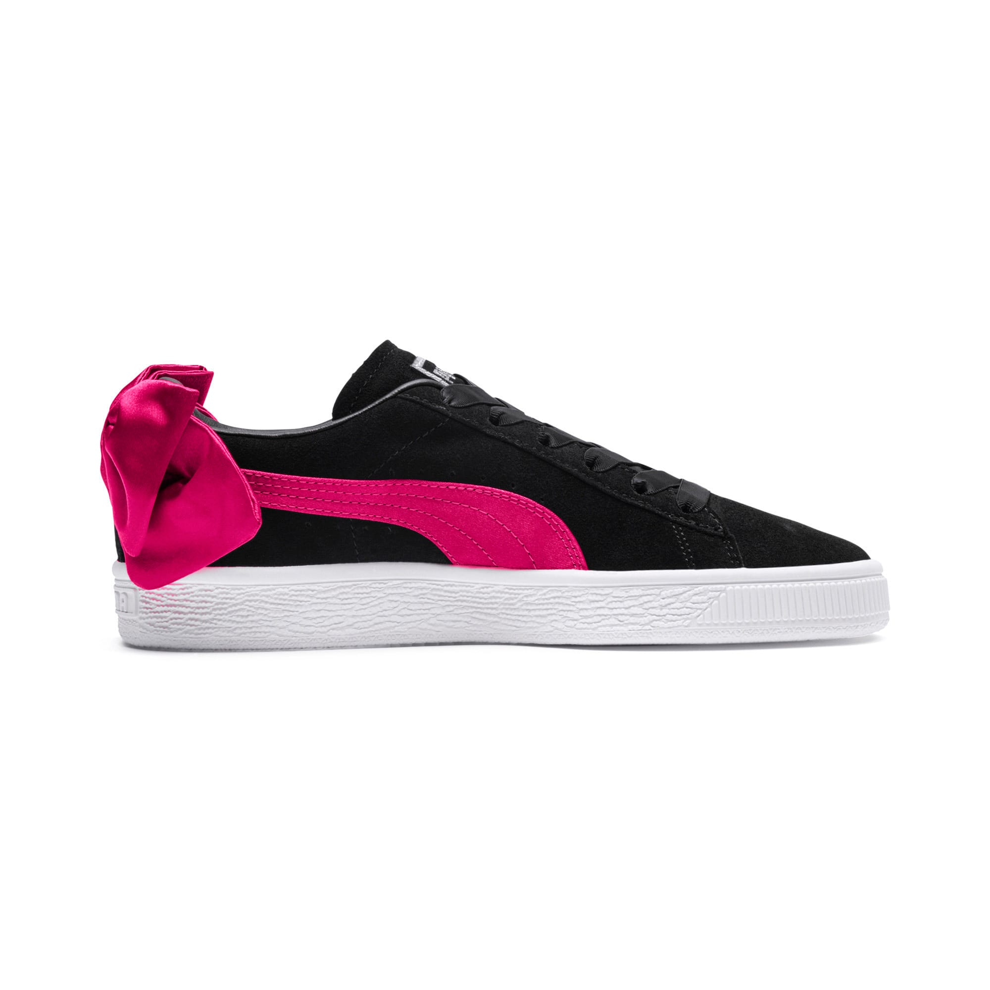 Thumbnail 5 of Suede Bow Girls' Trainers, Puma Black-Beetroot Purple, medium-IND