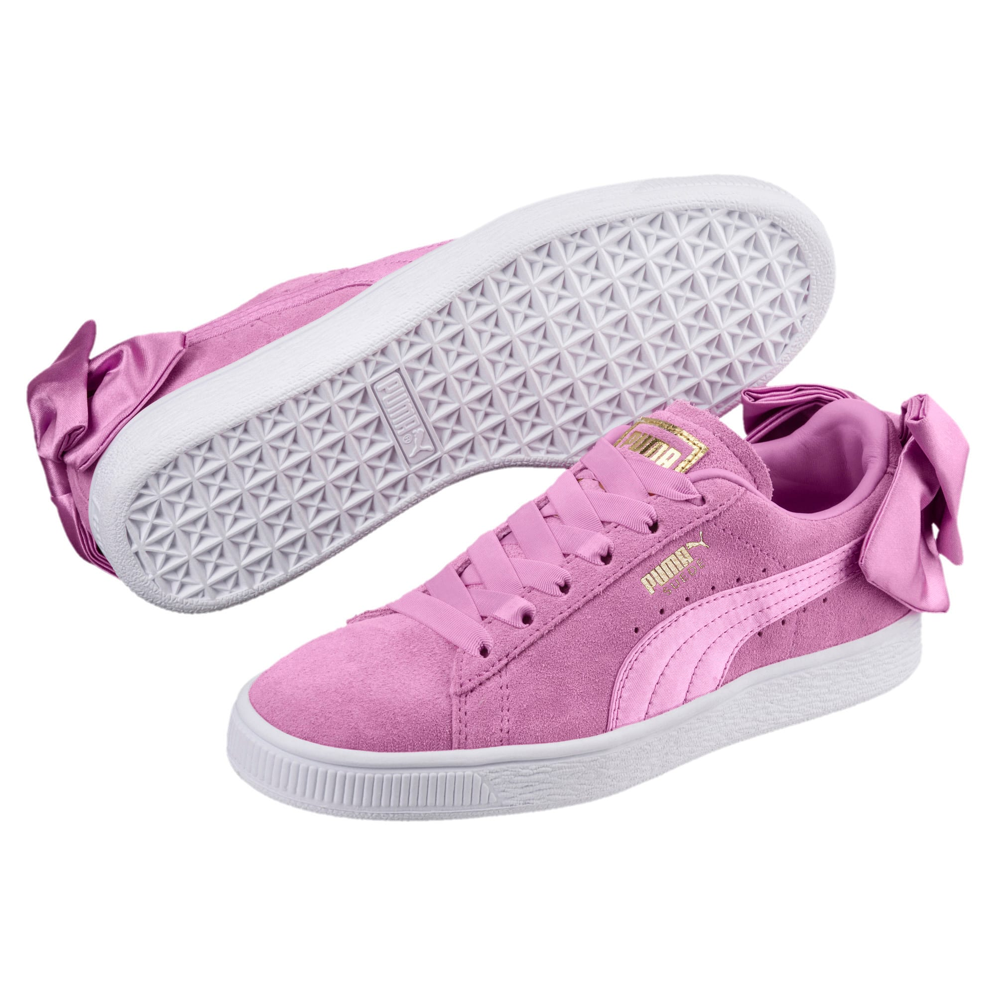 Thumbnail 2 of Suede Bow Girls' Trainers, Orchid-Orchid, medium-IND