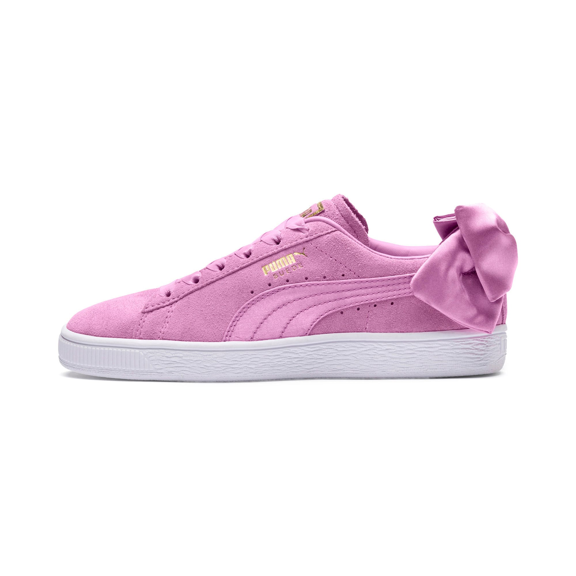 Thumbnail 1 of Suede Bow Girls' Trainers, Orchid-Orchid, medium-IND