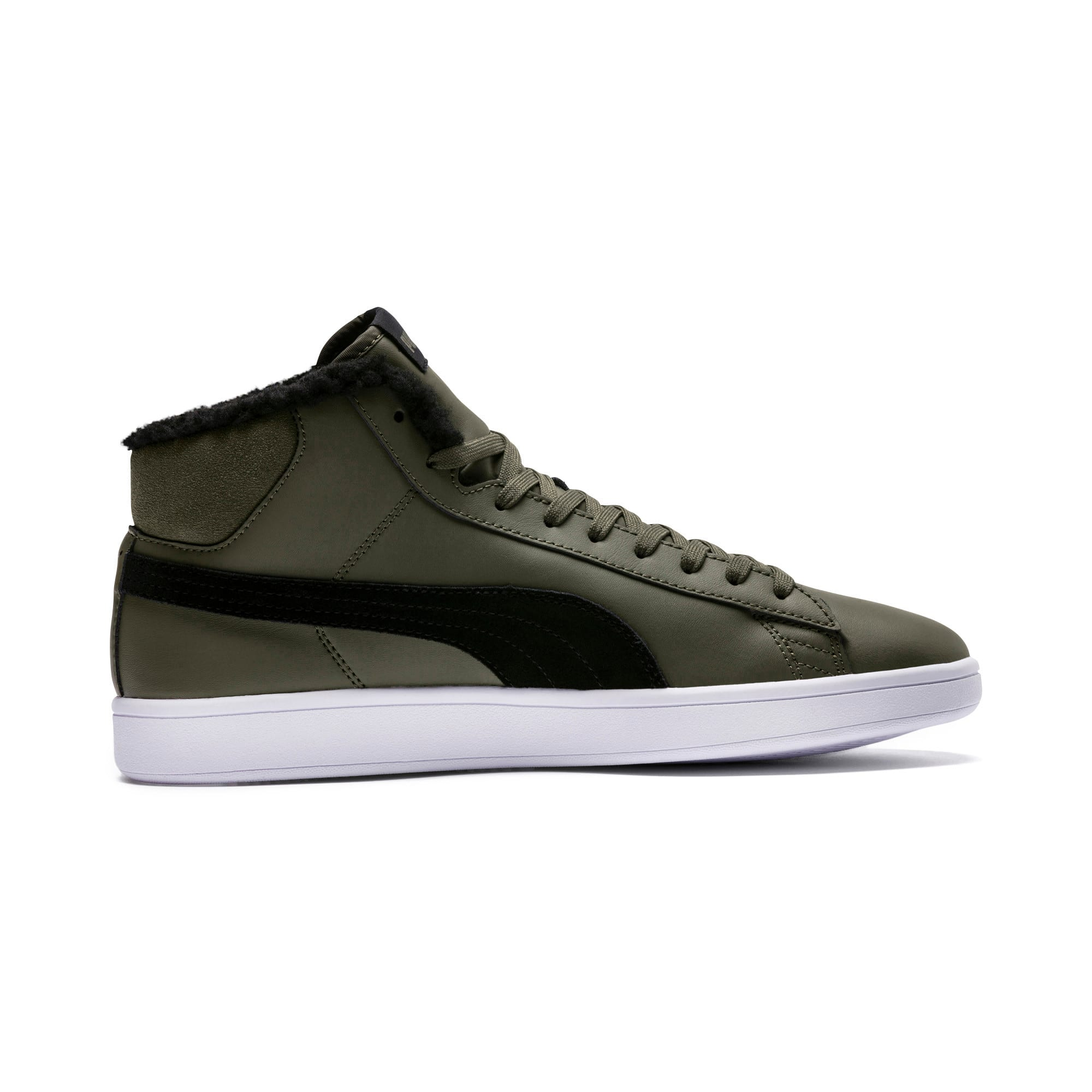Thumbnail 5 of Smash v2 Mid Winterized Leather High Tops, Forest Night-Puma Black, medium-IND