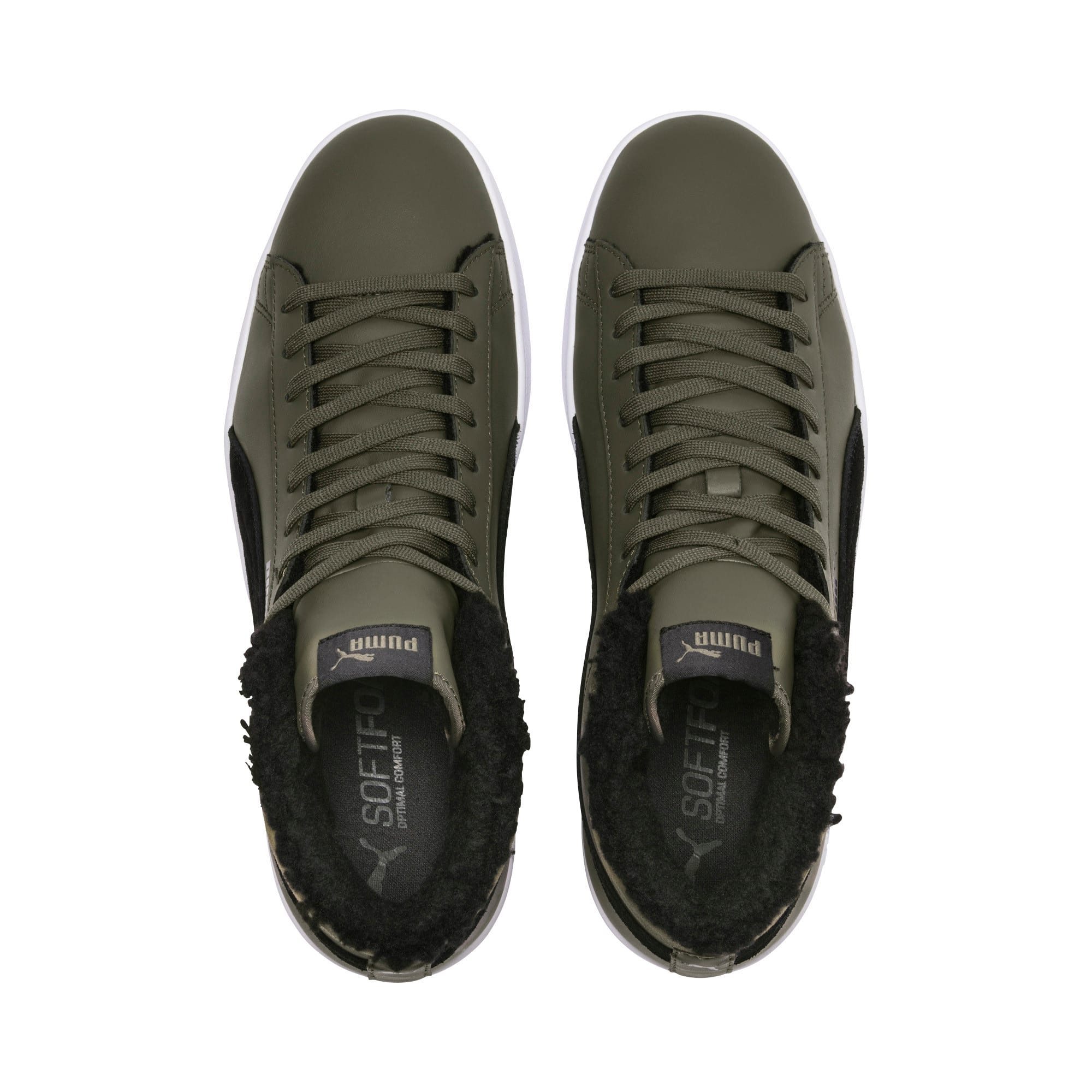 Thumbnail 6 of Smash v2 Mid Winterized Leather High Tops, Forest Night-Puma Black, medium-IND