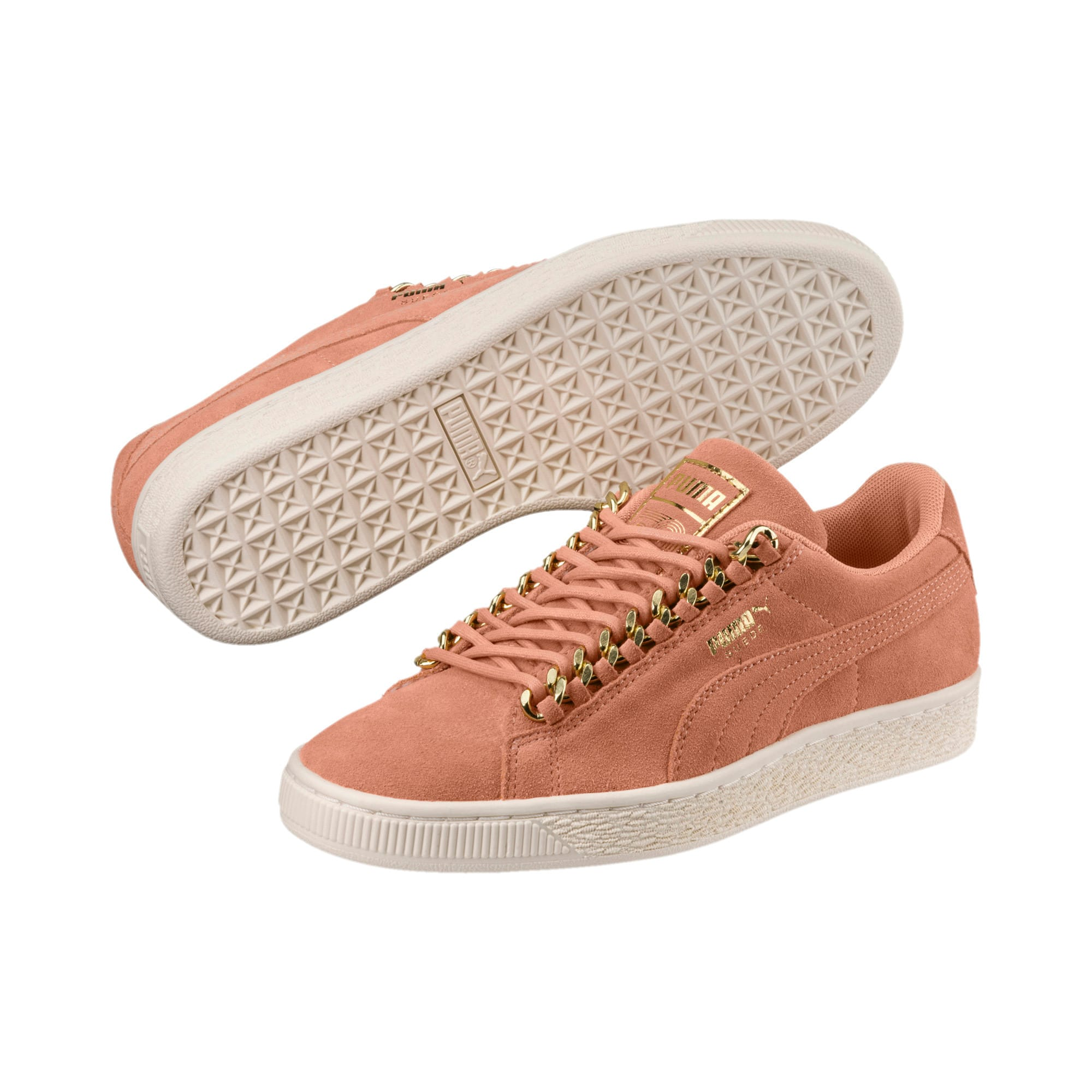 Thumbnail 2 of Suede Classic Chains Women's Trainers, Dusty Coral-Puma Team Gold, medium-IND