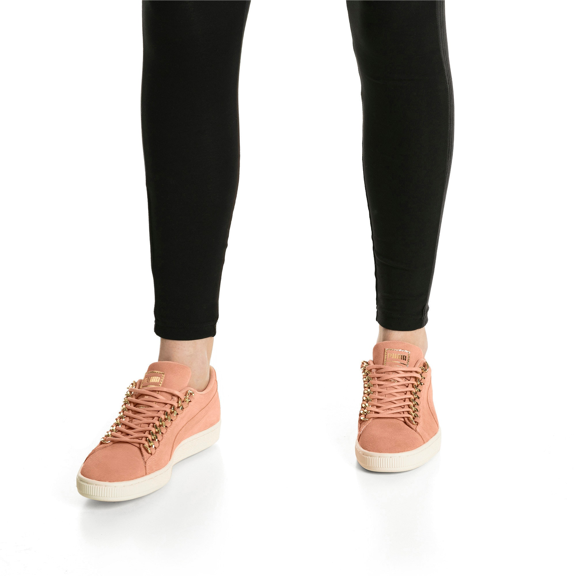 Thumbnail 7 of Suede Classic Chains Women's Trainers, Dusty Coral-Puma Team Gold, medium-IND