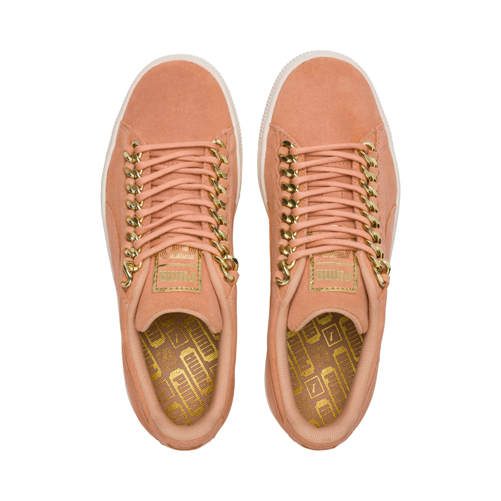 Thumbnail 6 of Suede Classic Chains Women's Trainers, Dusty Coral-Puma Team Gold, medium-IND