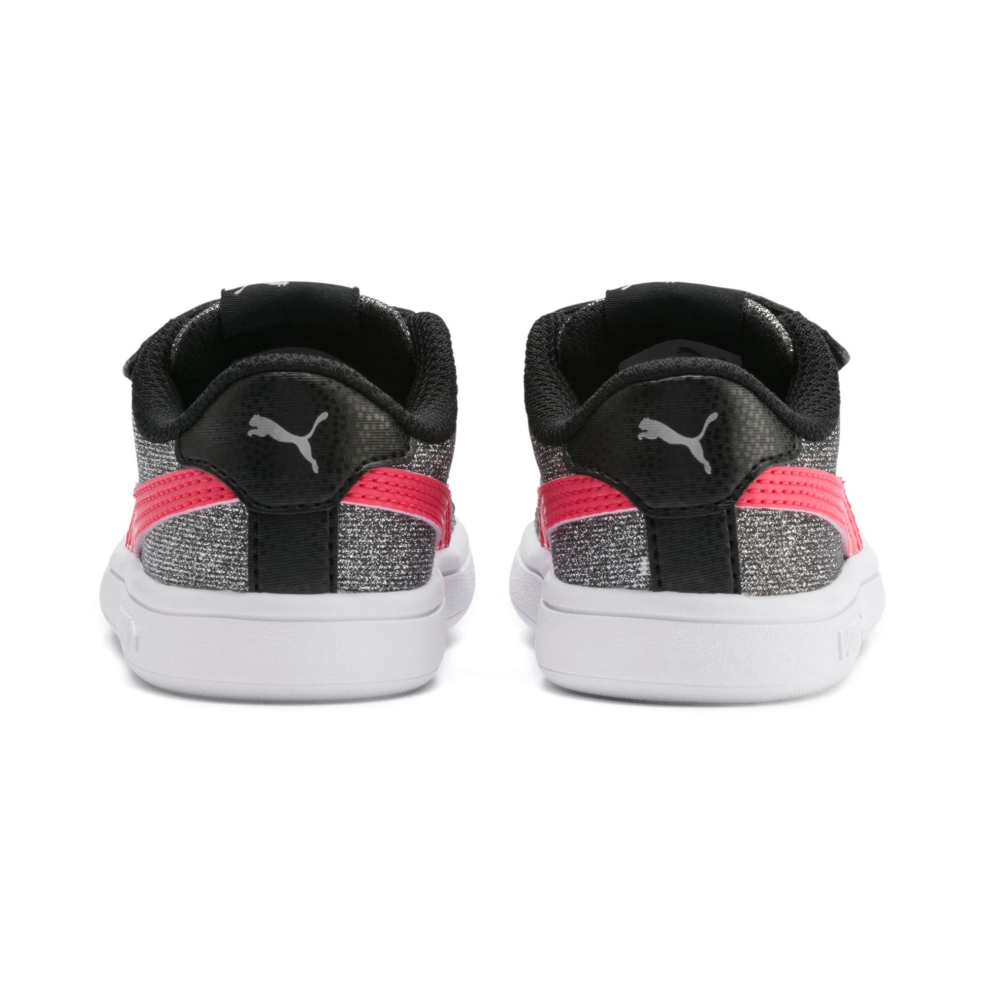 Thumbnail 3 of PUMA Smash v2 Glitz Glam Baby Girls' Trainers, Puma Black-Calypso Coral, medium