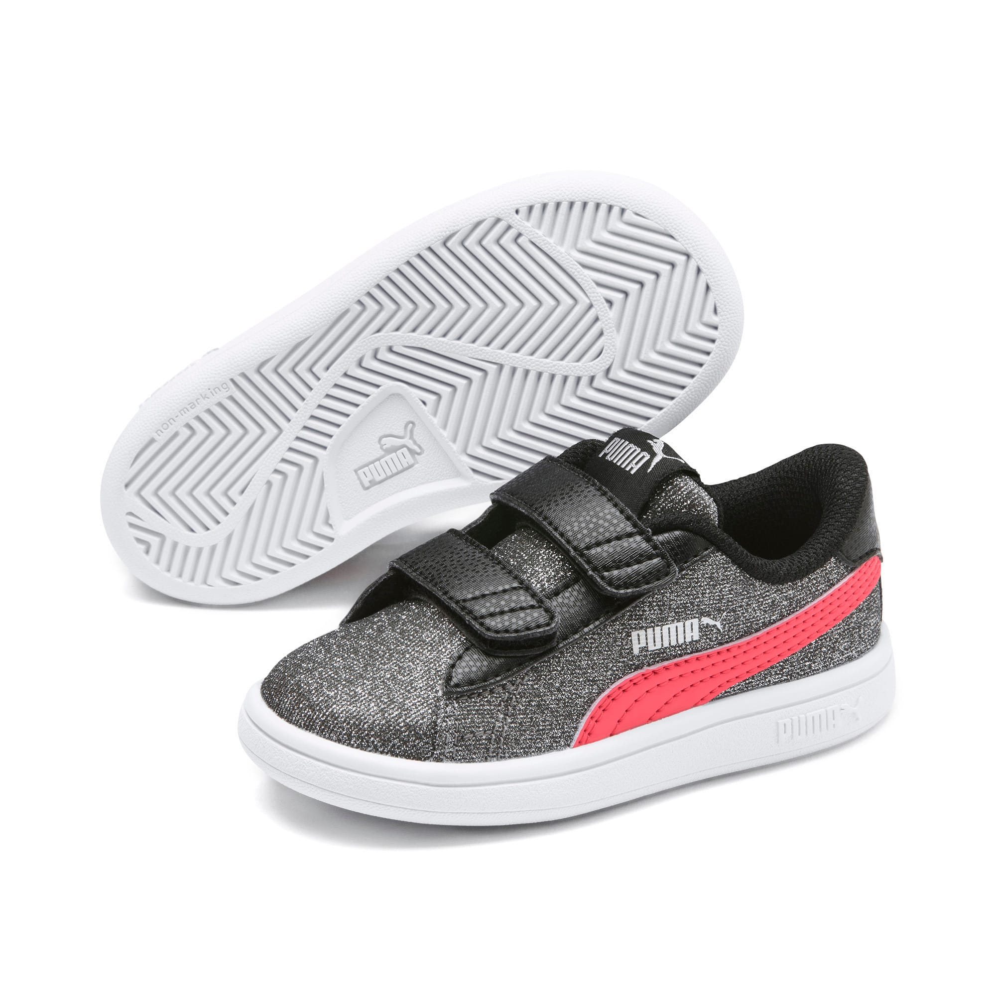 Thumbnail 2 of PUMA Smash v2 Glitz Glam Baby Girls' Trainers, Puma Black-Calypso Coral, medium
