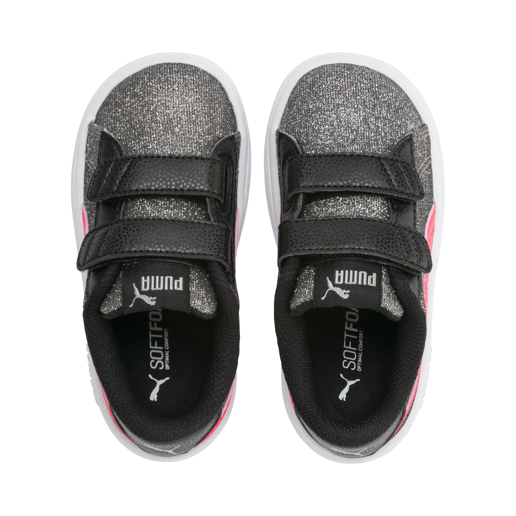 Thumbnail 6 of PUMA Smash v2 Glitz Glam Baby Girls' Trainers, Puma Black-Calypso Coral, medium