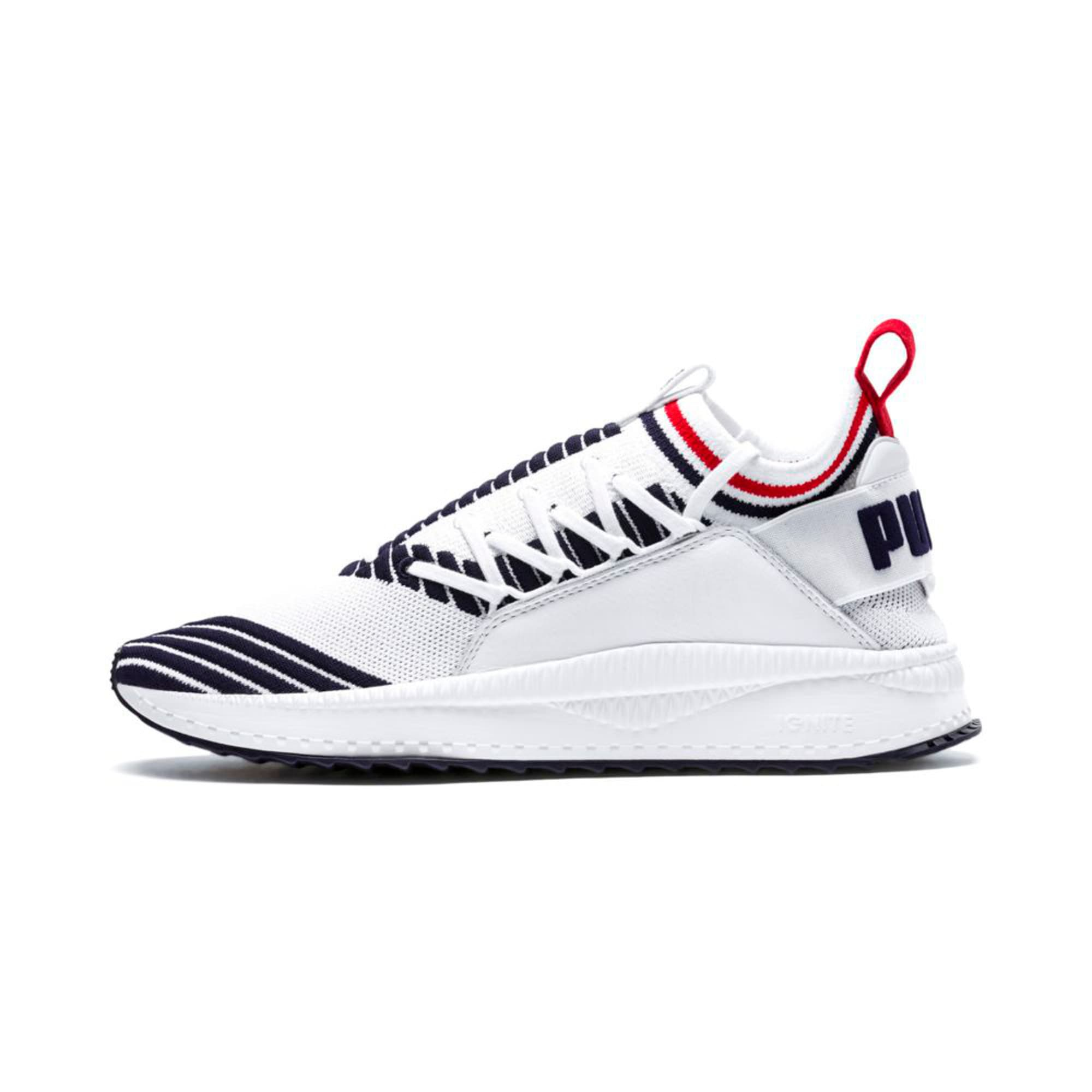 Evolution TSUGI Jun Sport Stripes Trainers, PWhite-Peacoat-RRed, large-IND